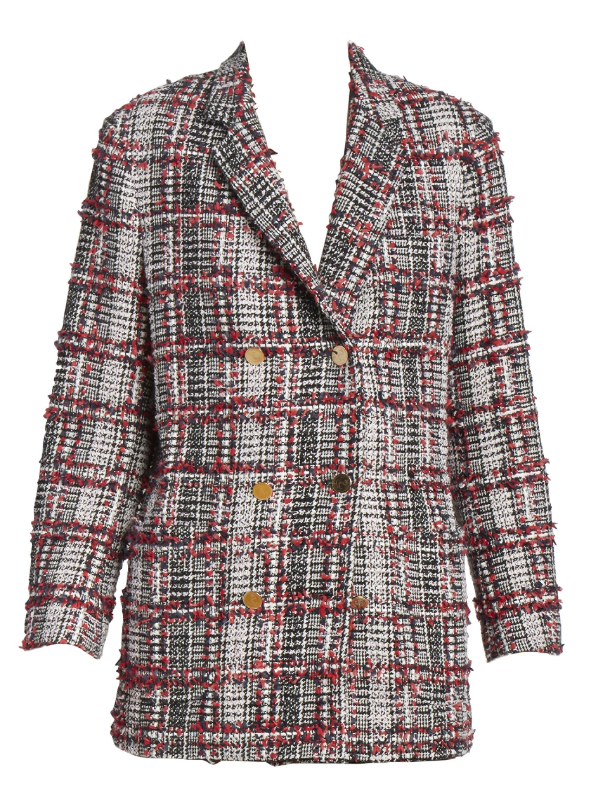 a90fb9b35fd Thom Browne Women's Double Breasted Tweed Wool-blend Sack Jacket ...