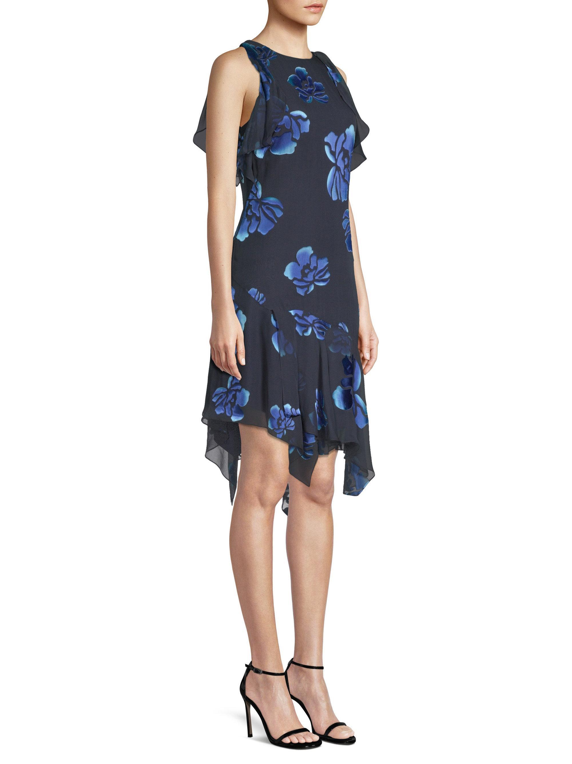 6cd62fe8a27a Elie Tahari Serenity Floral Handkerchief-hem Dress in Blue - Lyst