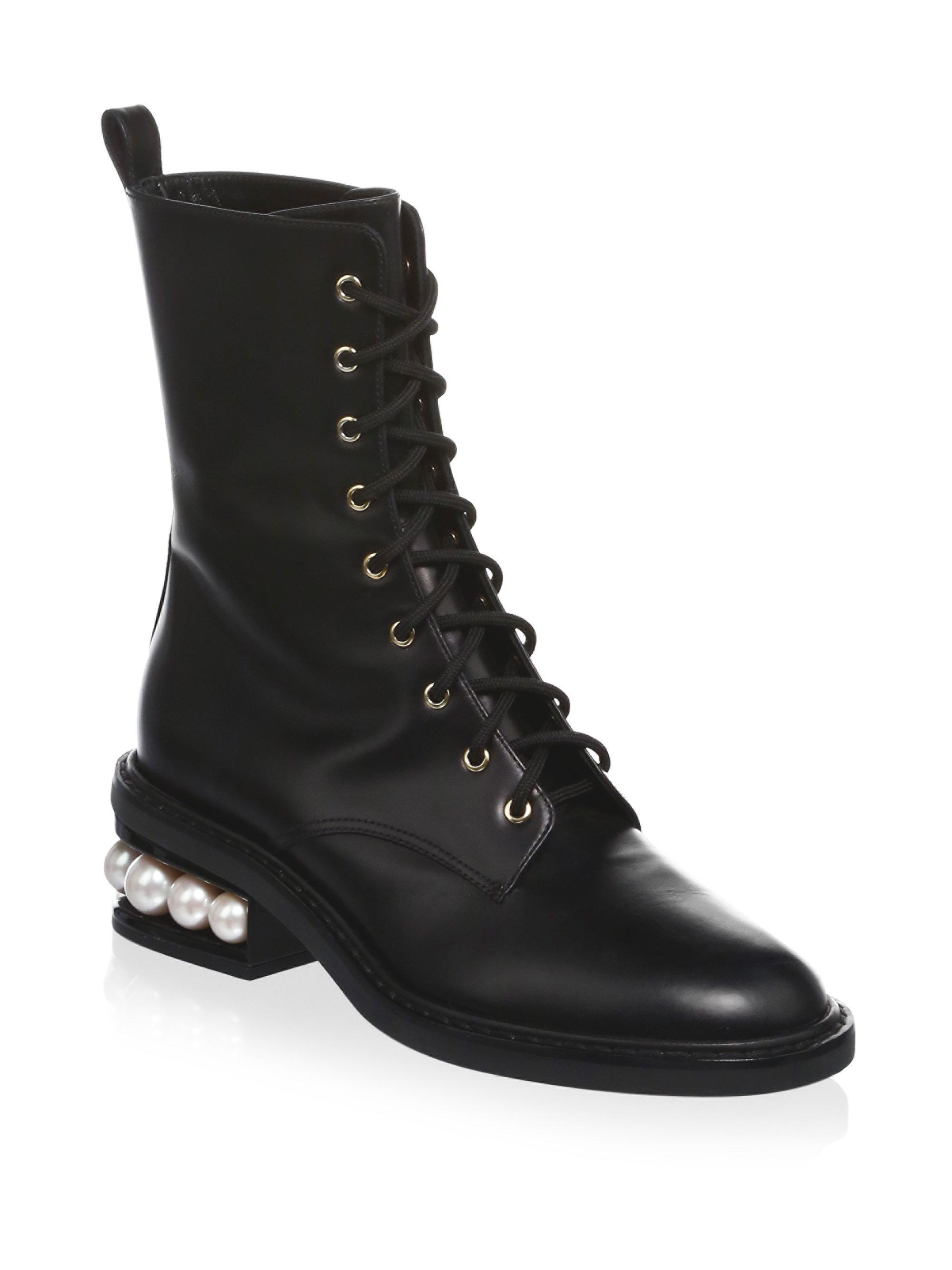 Nicholas Kirkwood Black Leahter & Velvet Hiking Boots OneXx6