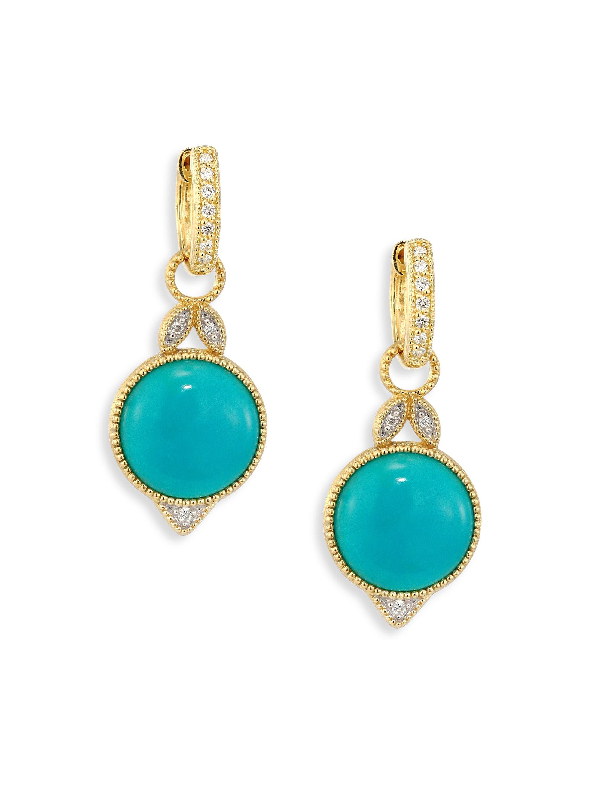 Jude Frances Moroccan 18k White Gold Turquoise/Diamond Drop Earrings r8w9Nyu