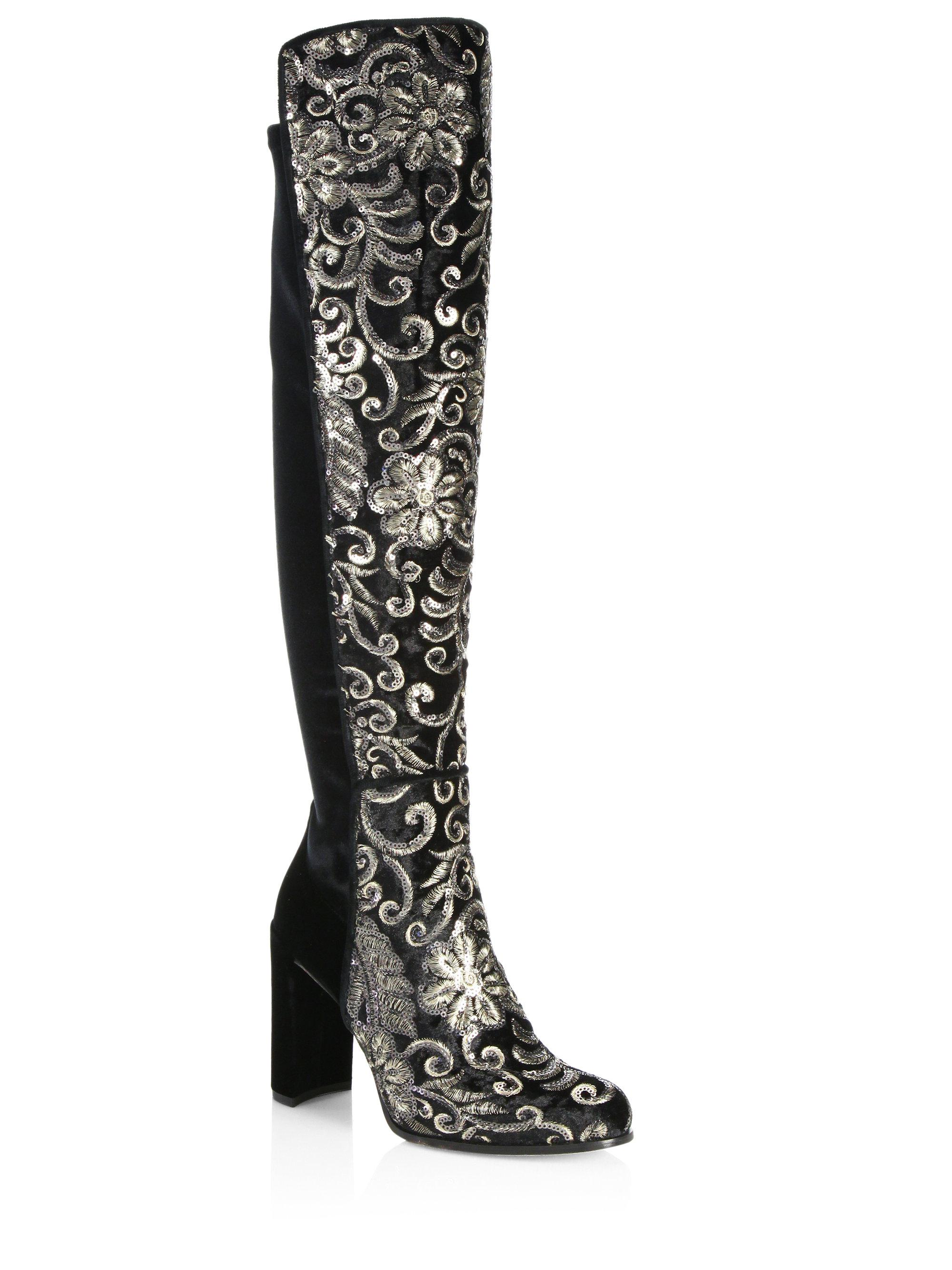 Stuart Weitzman Alljil Tall Sequin-Embroidered Velvet Boots