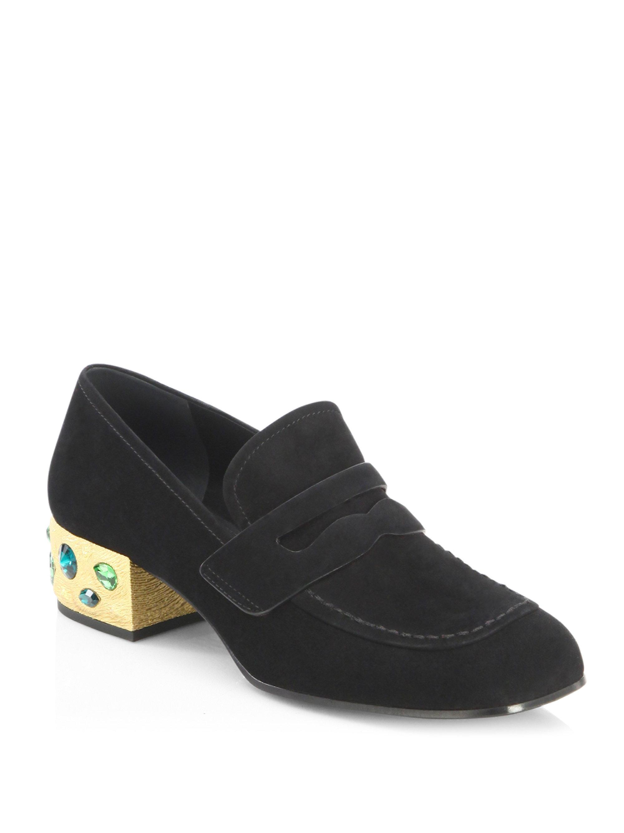 6c90d2e210a Lyst - Prada Jewel Heel Suede Loafer Pumps in Black