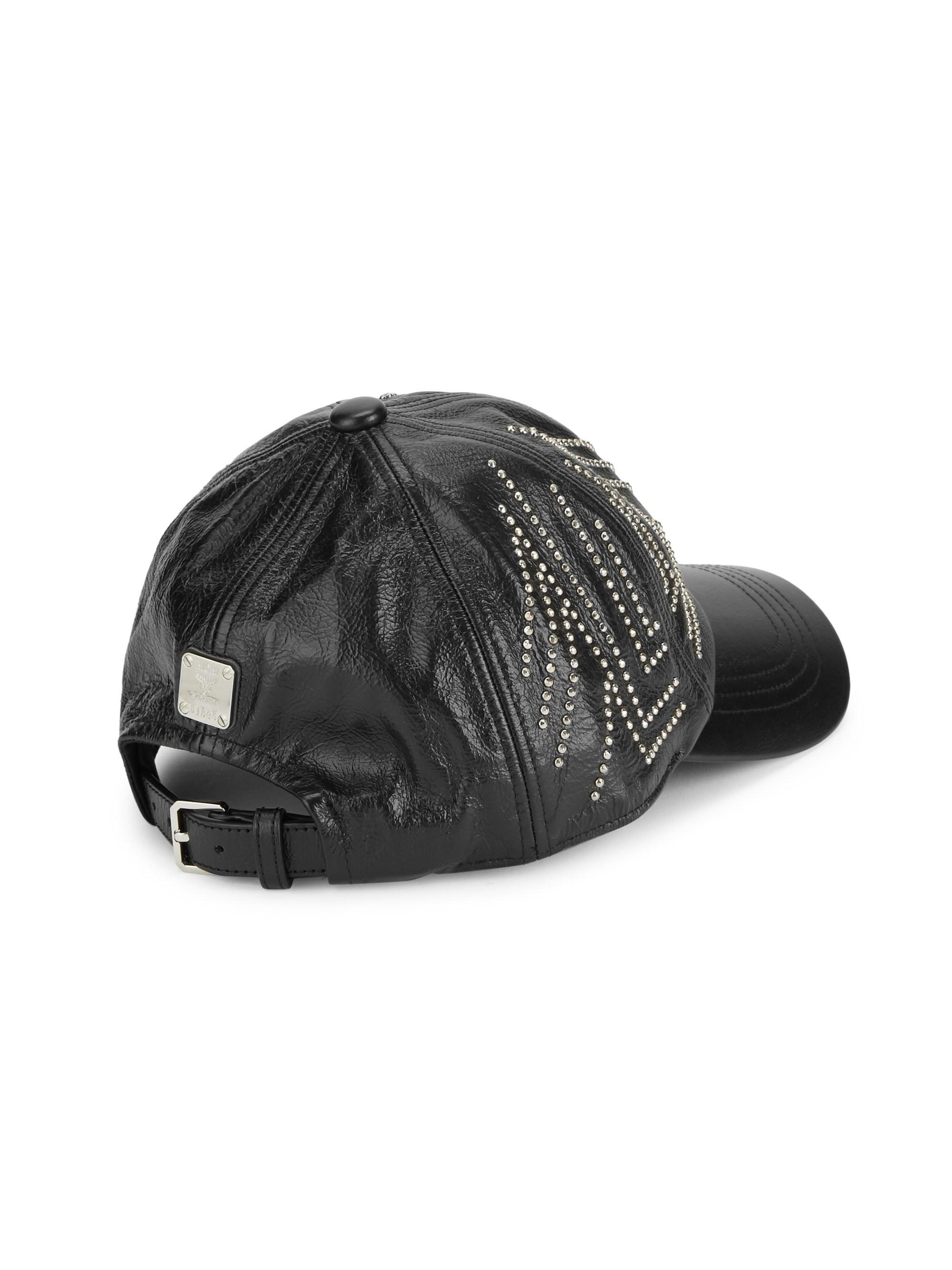 9313e6ea MCM - Black Gunta Stud Leather Baseball Cap for Men - Lyst. View fullscreen