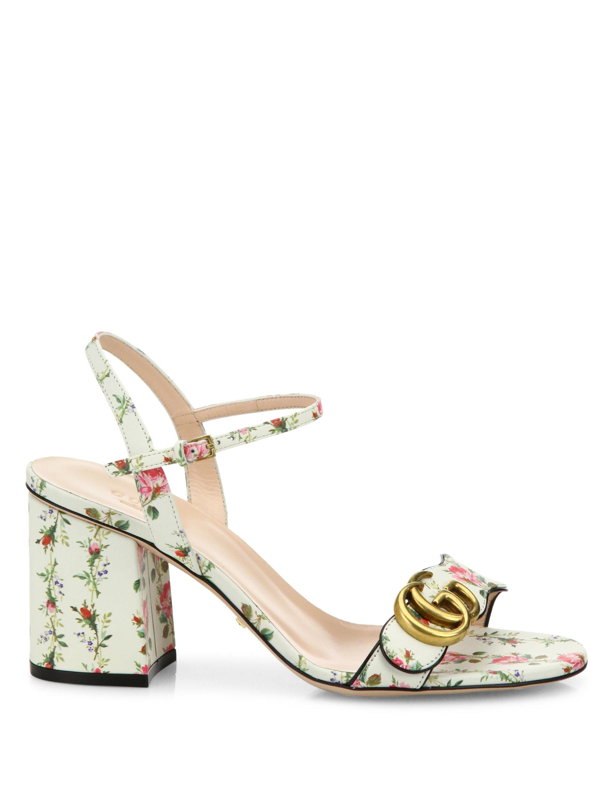 061714b5a92d Lyst - Gucci Floral-print Leather Sandals in White