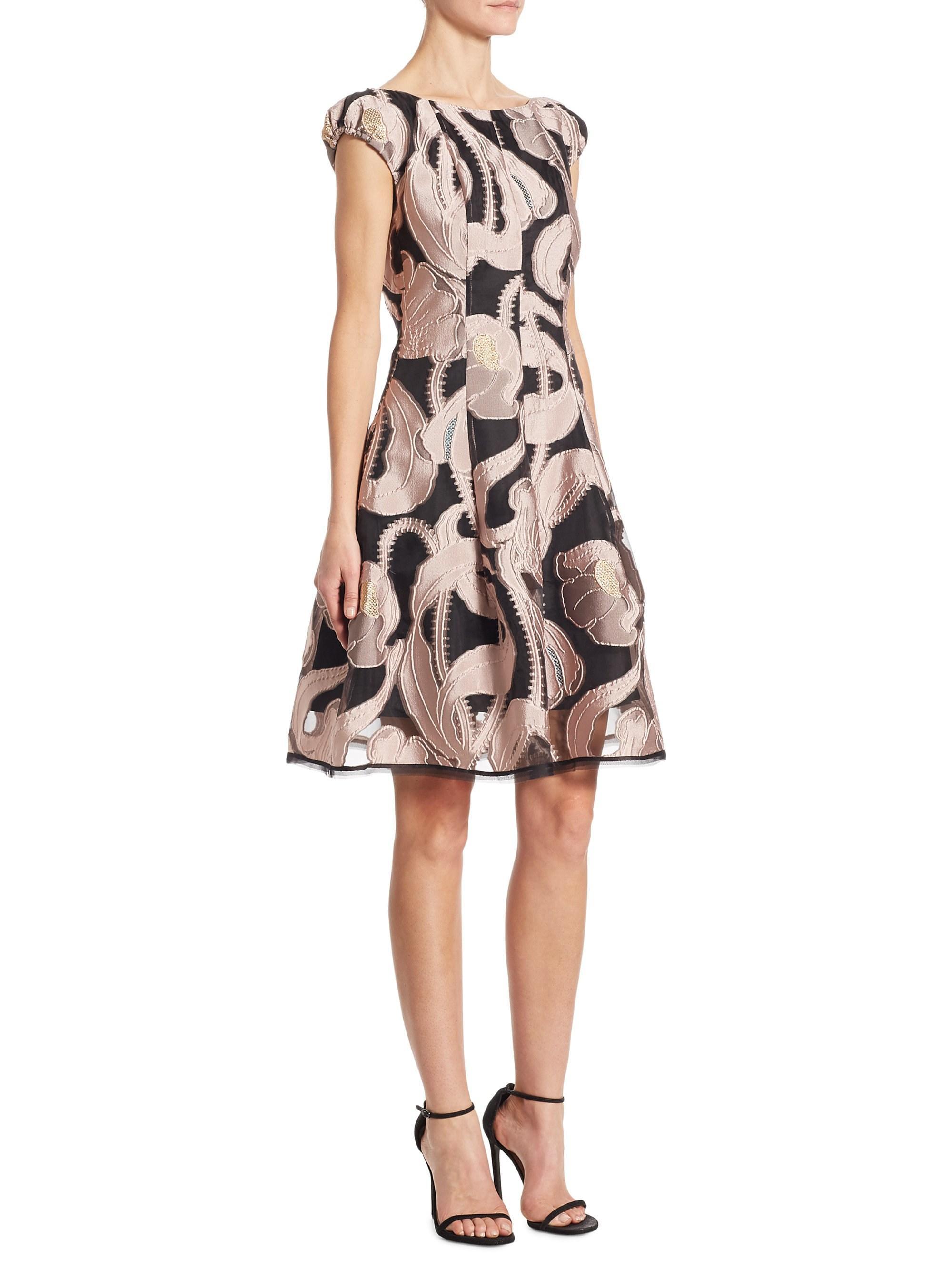 1a3e6154859 Lyst - Talbot Runhof Silk Marble-print Dress