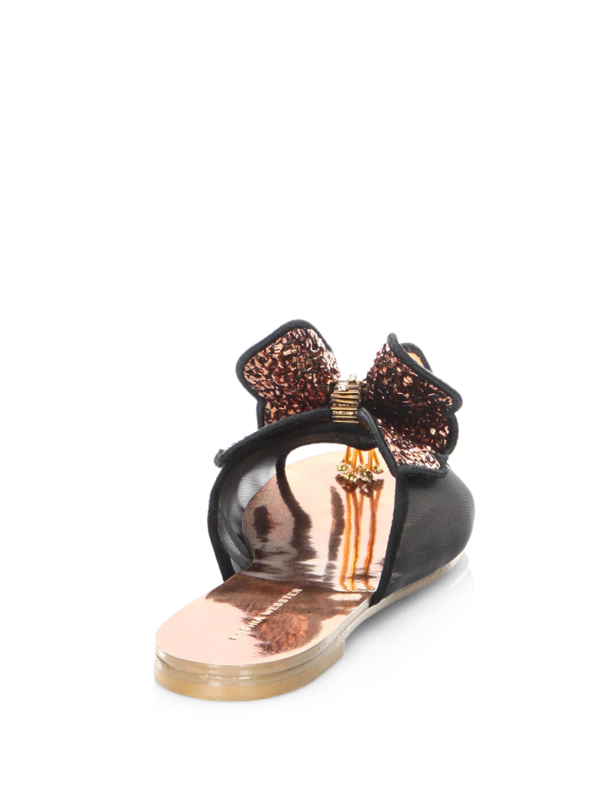 dee4e7a9e618 Sophia Webster Lana Butterfly Leather Slides - Lyst