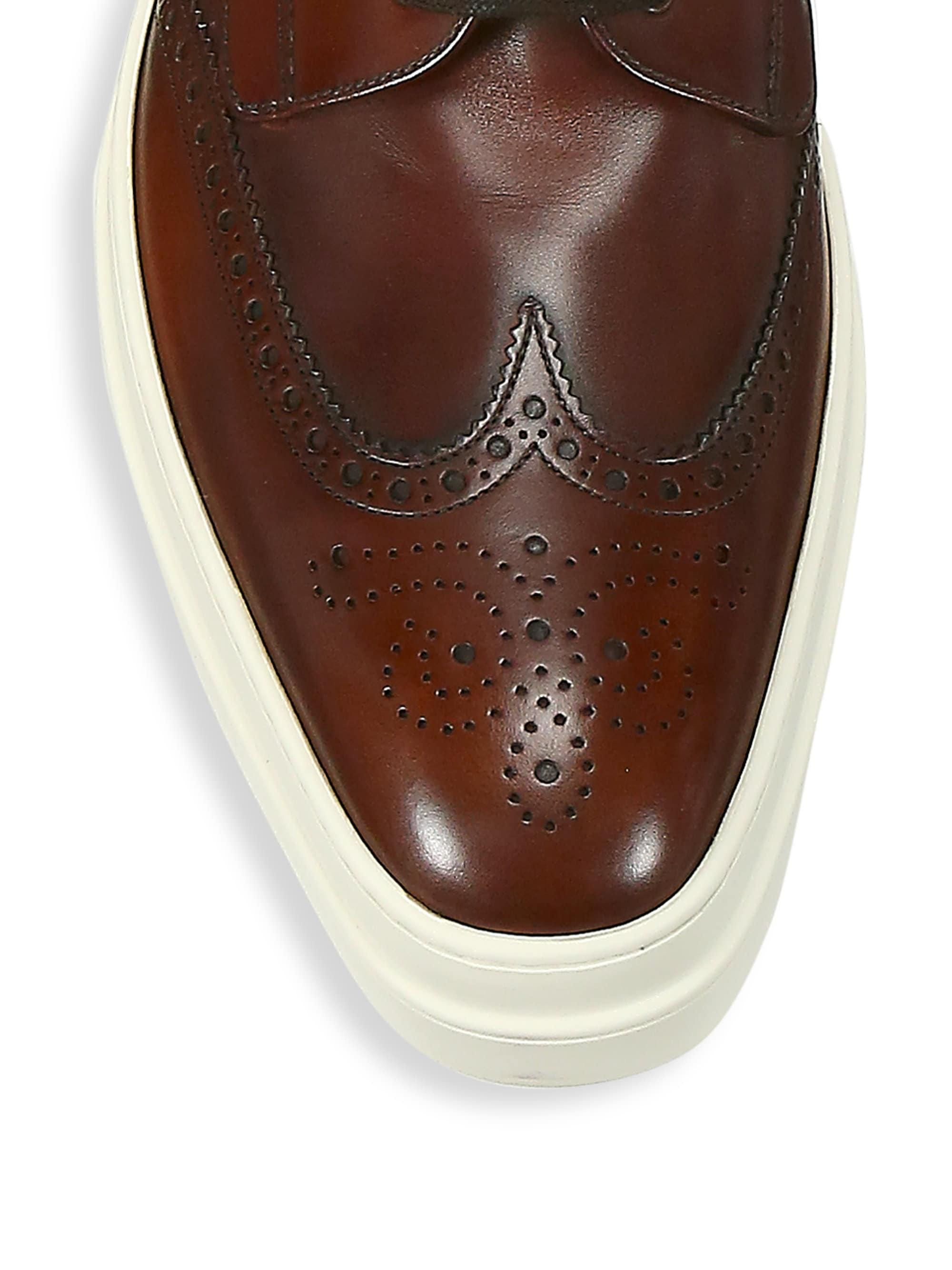be4e89441 Prada Brogue Leather Platform Shoes in Brown for Men - Lyst