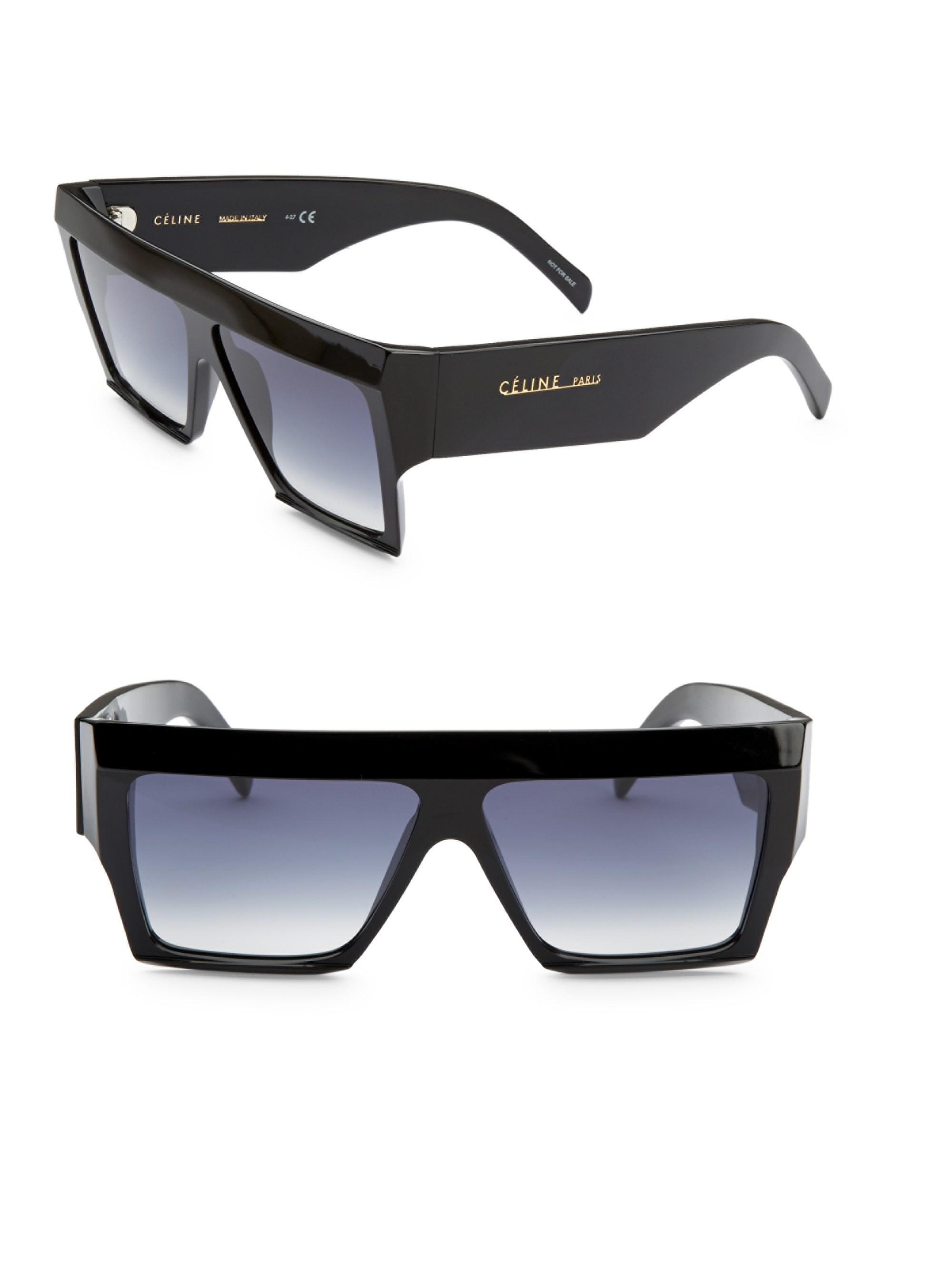 5fb0e415f0cd Lyst - Céline 61mm Wraparound Acetate Sunglasses in Black