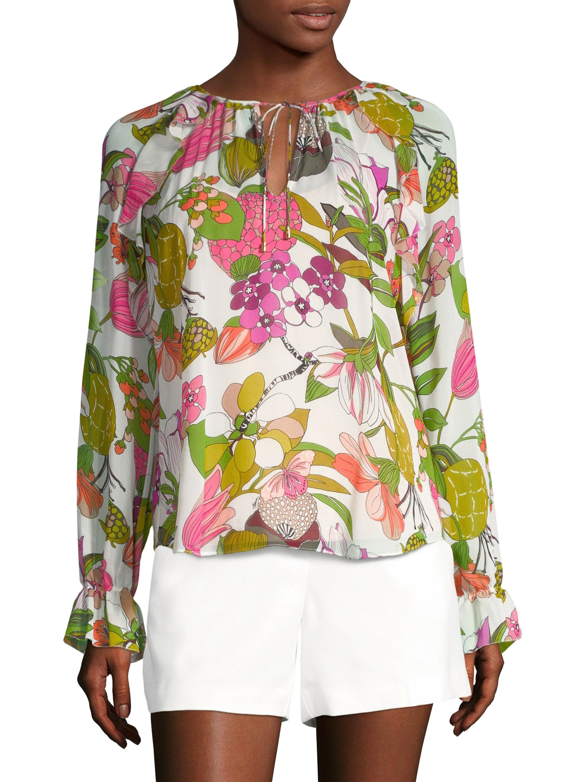 15f4c7aa4f0f0c Lyst - Trina Turk Magnolia Silk Top