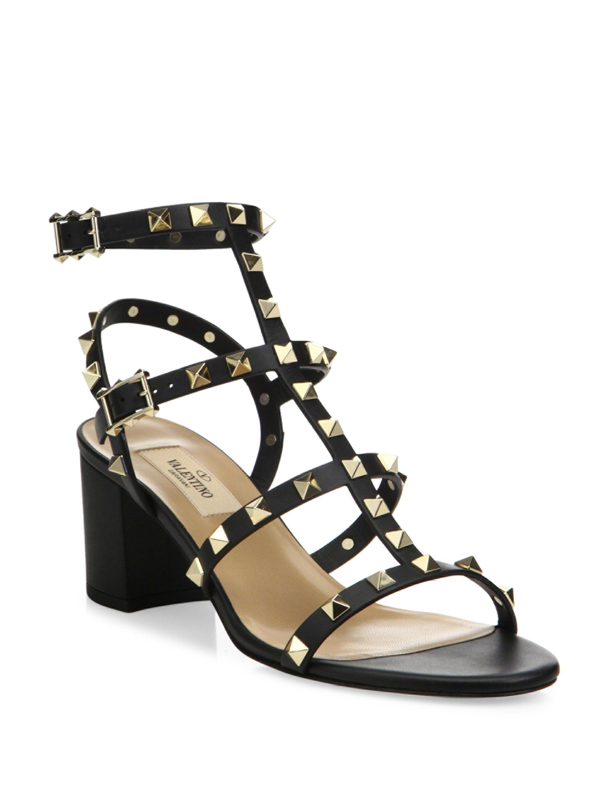 dc8ff8485d27 Rockstud Leather Sandals Black Valentino 60 n4pqwPn1Z