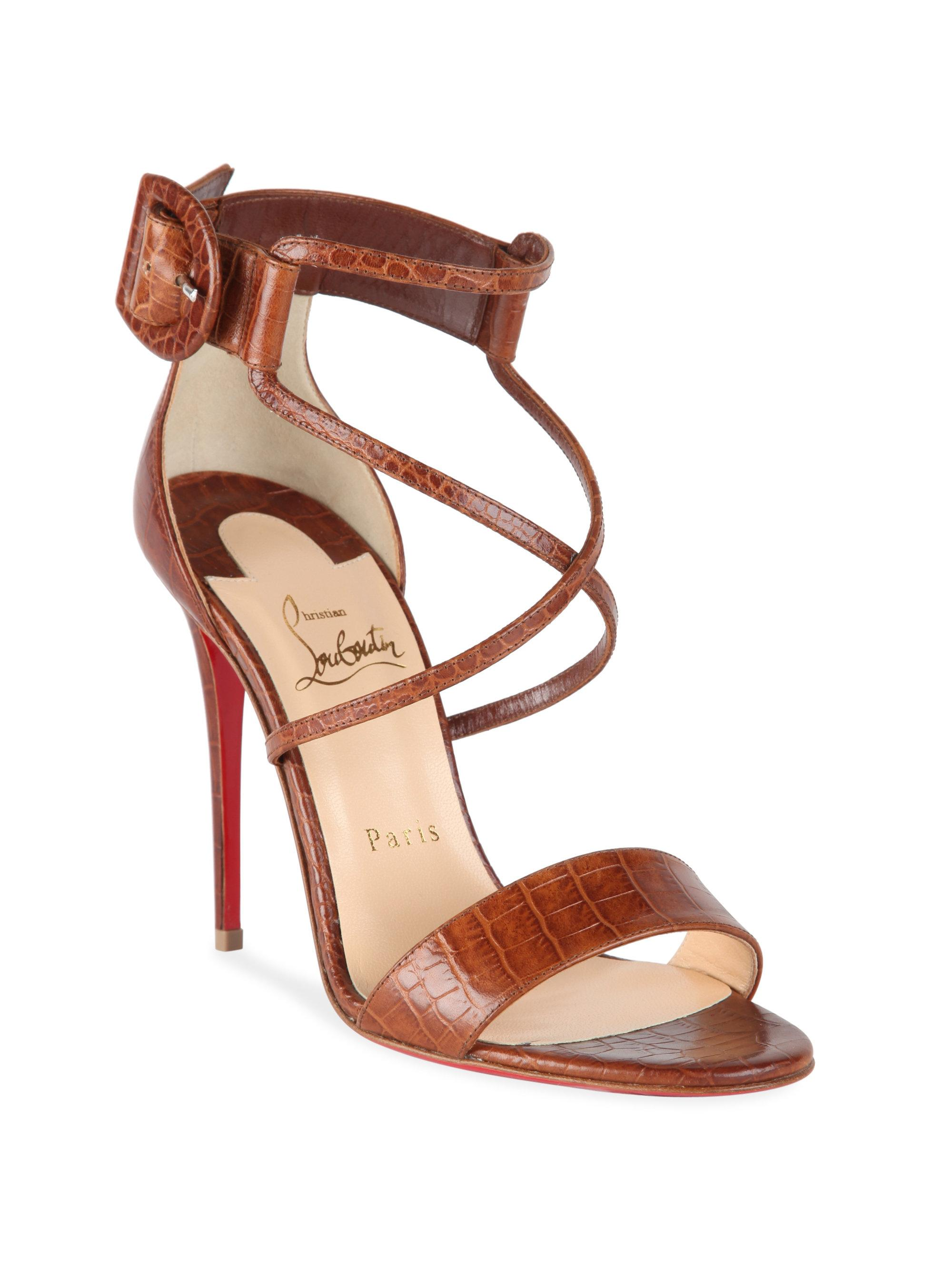 16241d8350ed ... amazon lyst christian louboutin choca 100 croc embossed leather sandals  331ab 6a21c