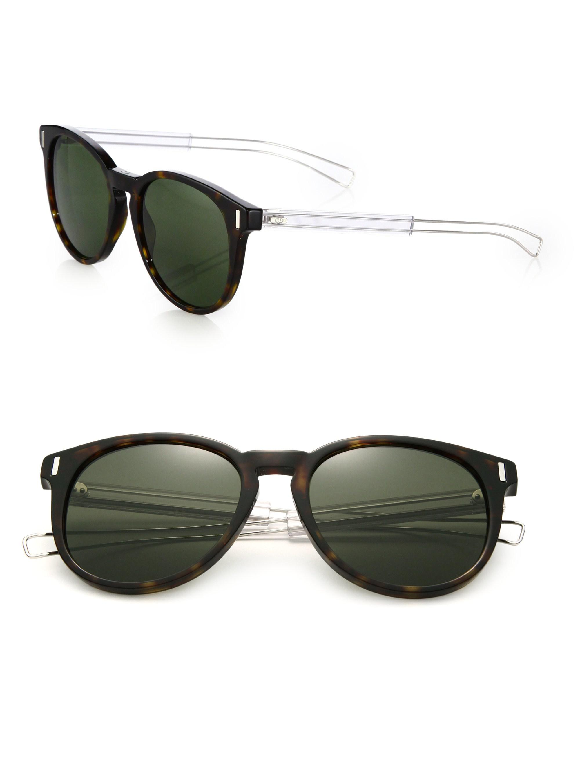 0a3539368 Lyst - Dior Homme 54mm Black Tie Round Sunglasses in Black for Men