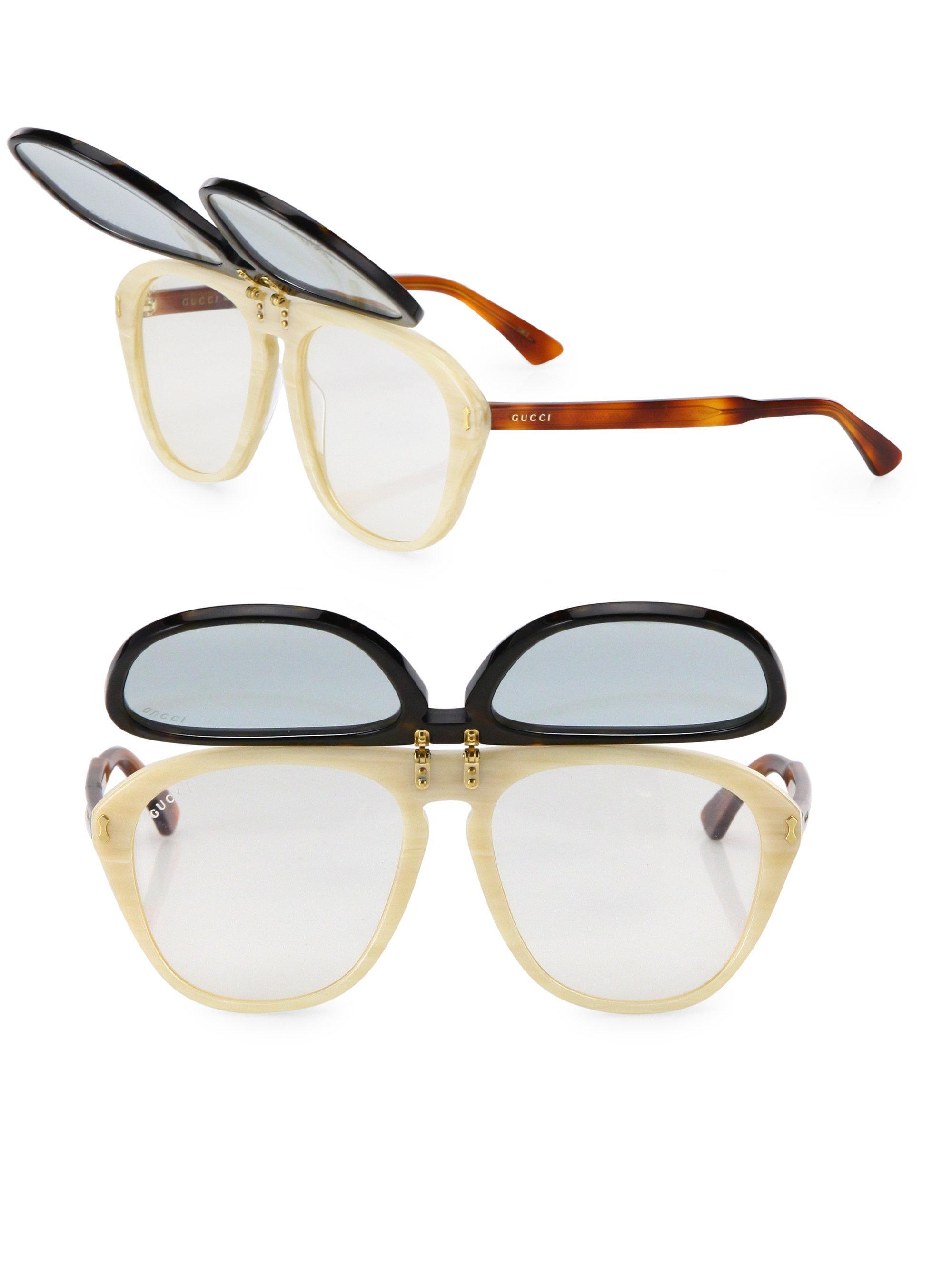 23ab939cebc Gucci - Multicolor 56mm Flip-up Pilot Sunglasses for Men - Lyst