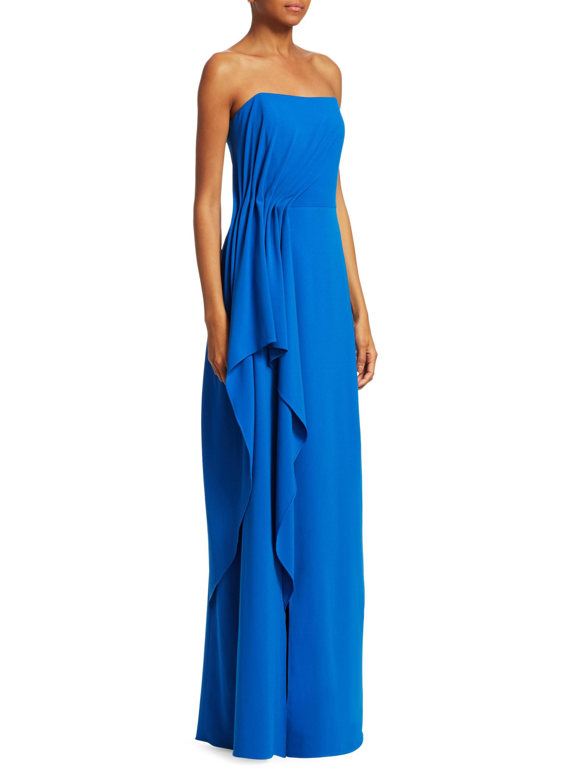 Lyst - Halston Heritage Ruched Evening Gown in Blue