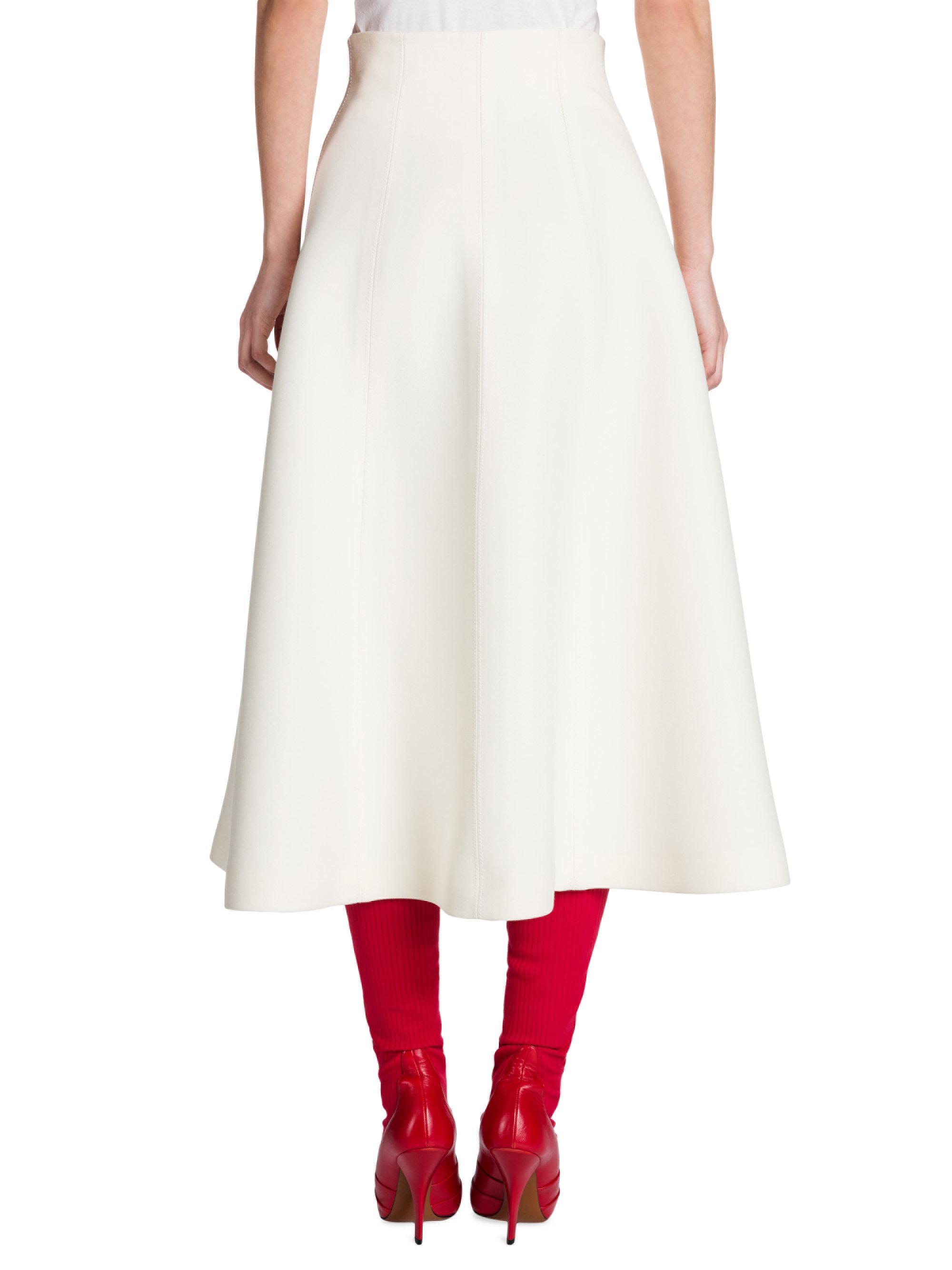 3511805813 Fendi Wool & Silk Gazar Zip-up Midi Skirt in White - Lyst