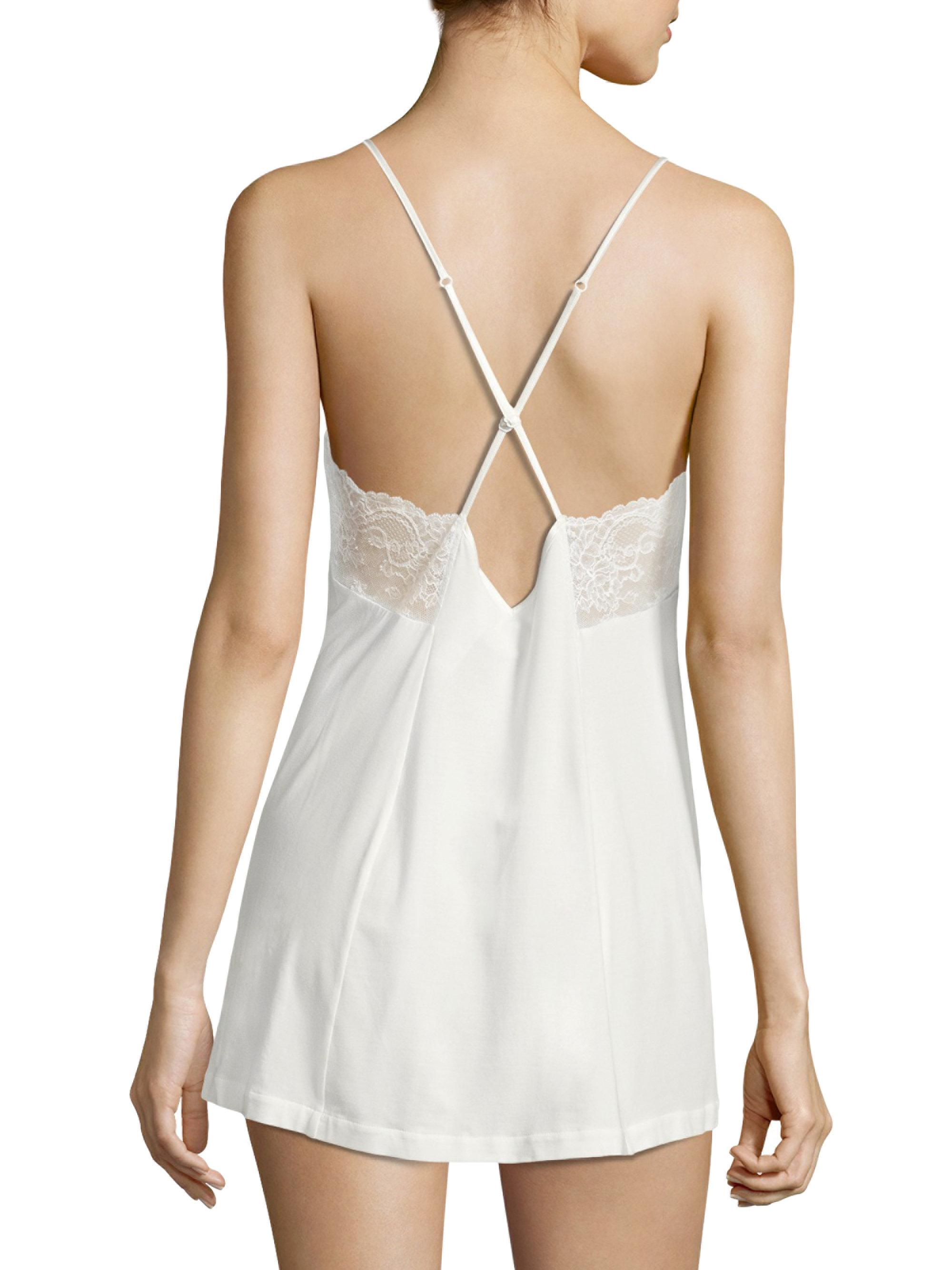4311935958f Lyst - La Perla Romance Lace-accented Satin Babydoll in White