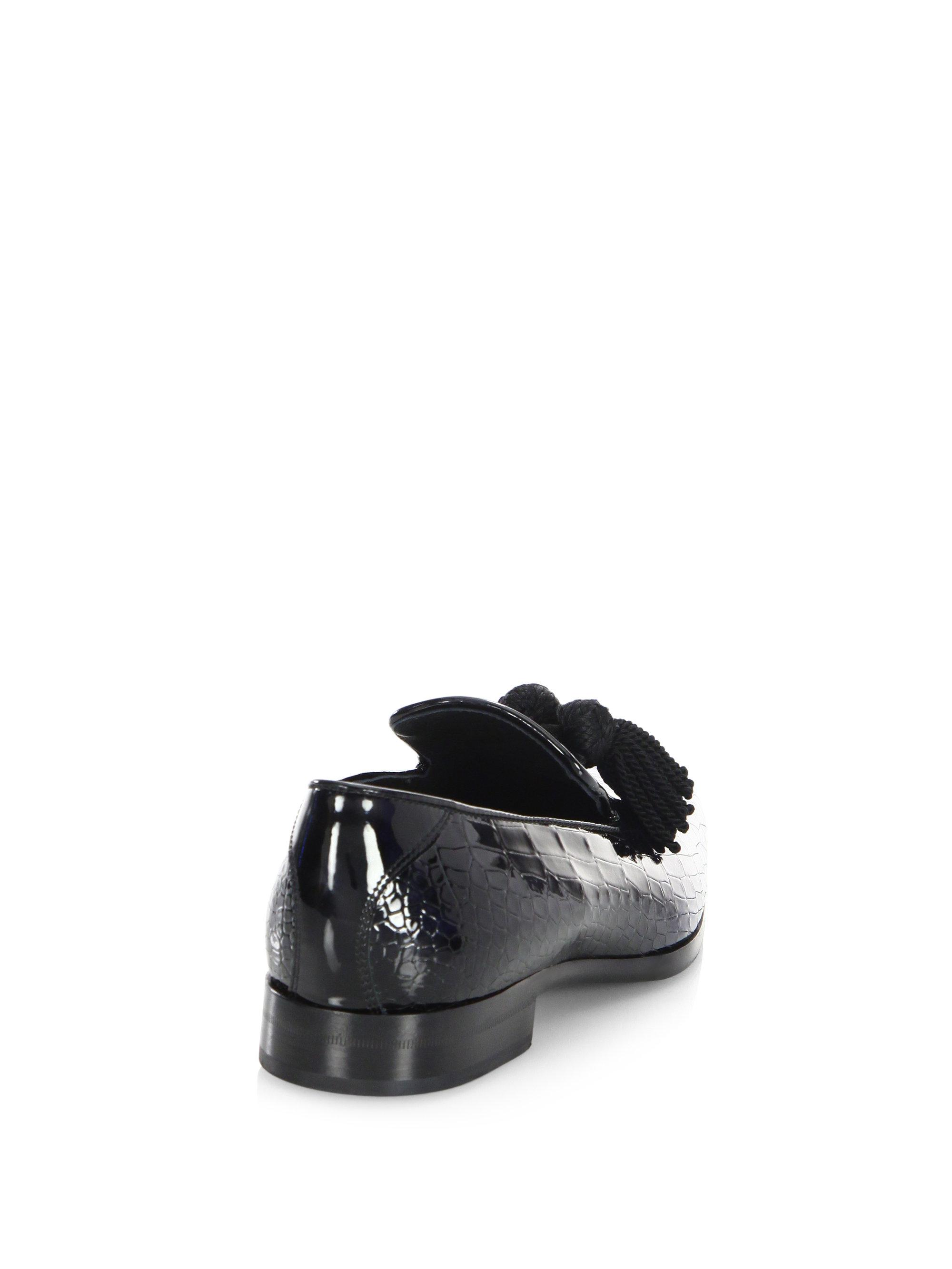 9523d6f3379 Lyst - Jimmy Choo Foxley Glitter Patent Degrade Leather Loafers in ...