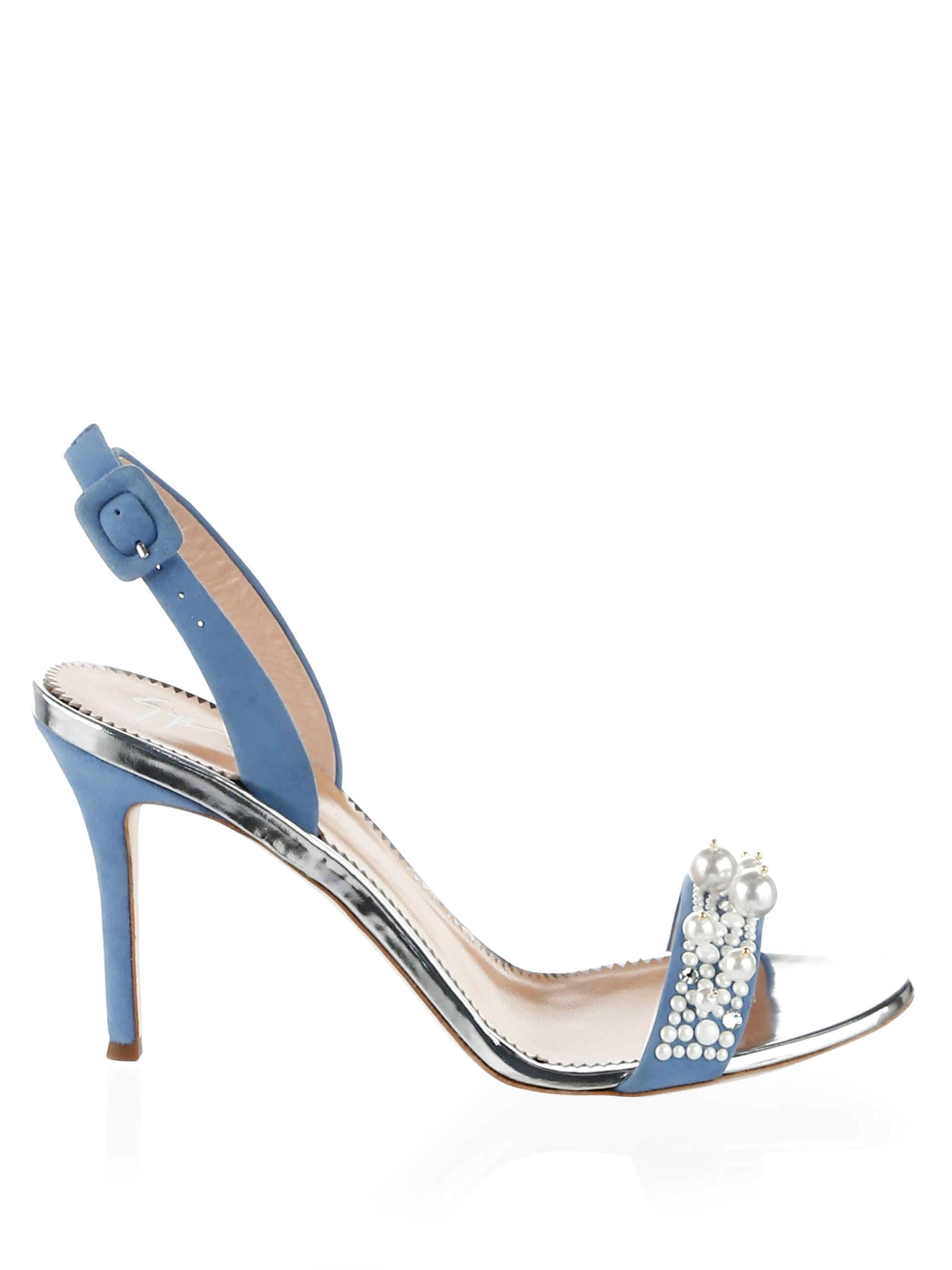 23416a6a3ce545 Giuseppe Zanotti Faux Pearl Embellished Leather Sandals in Blue - Lyst