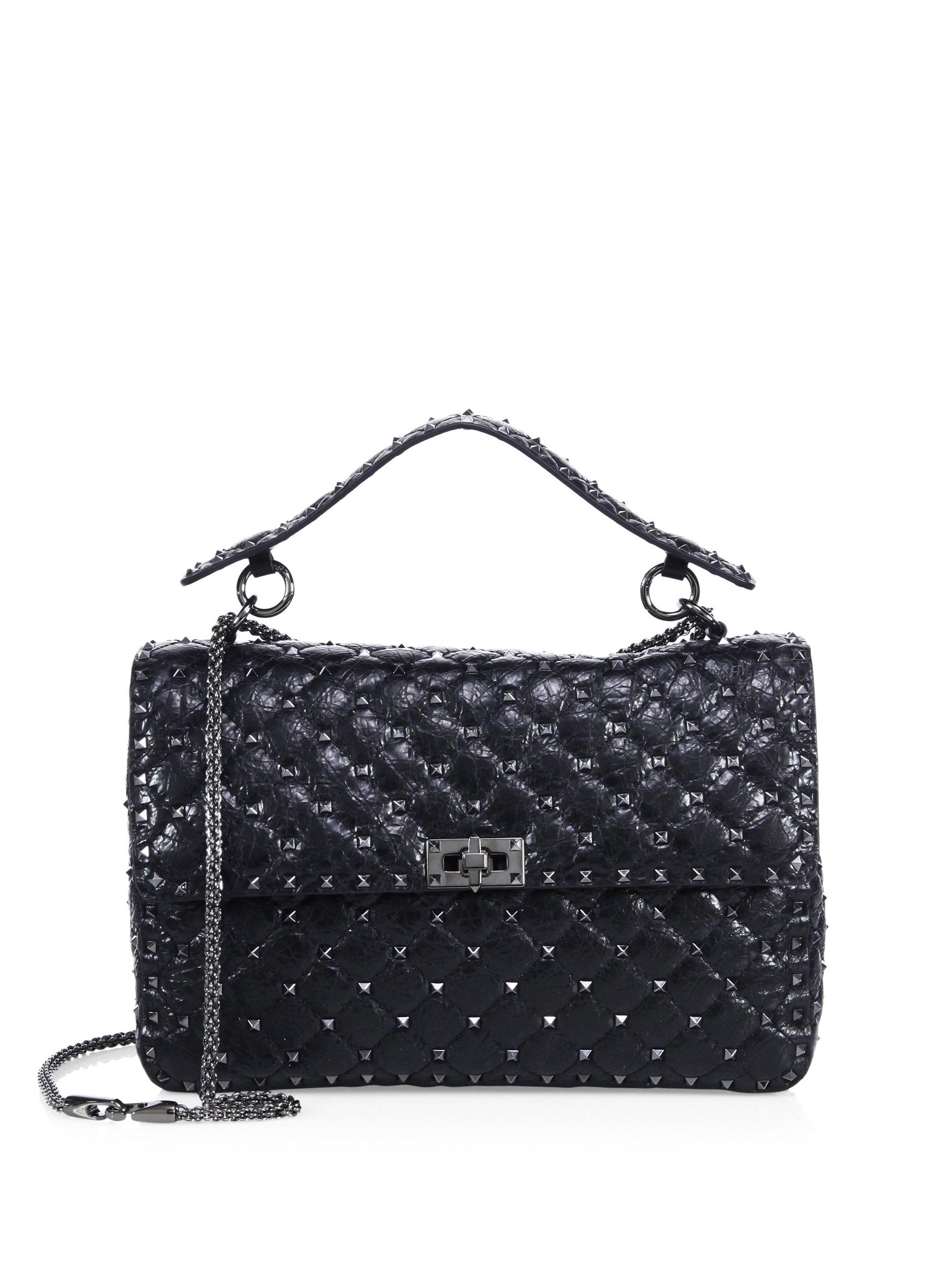 b5c6ed41d41c Lyst - Valentino Rockstud Spike Large Quilted Leather Chain Shoulder ...