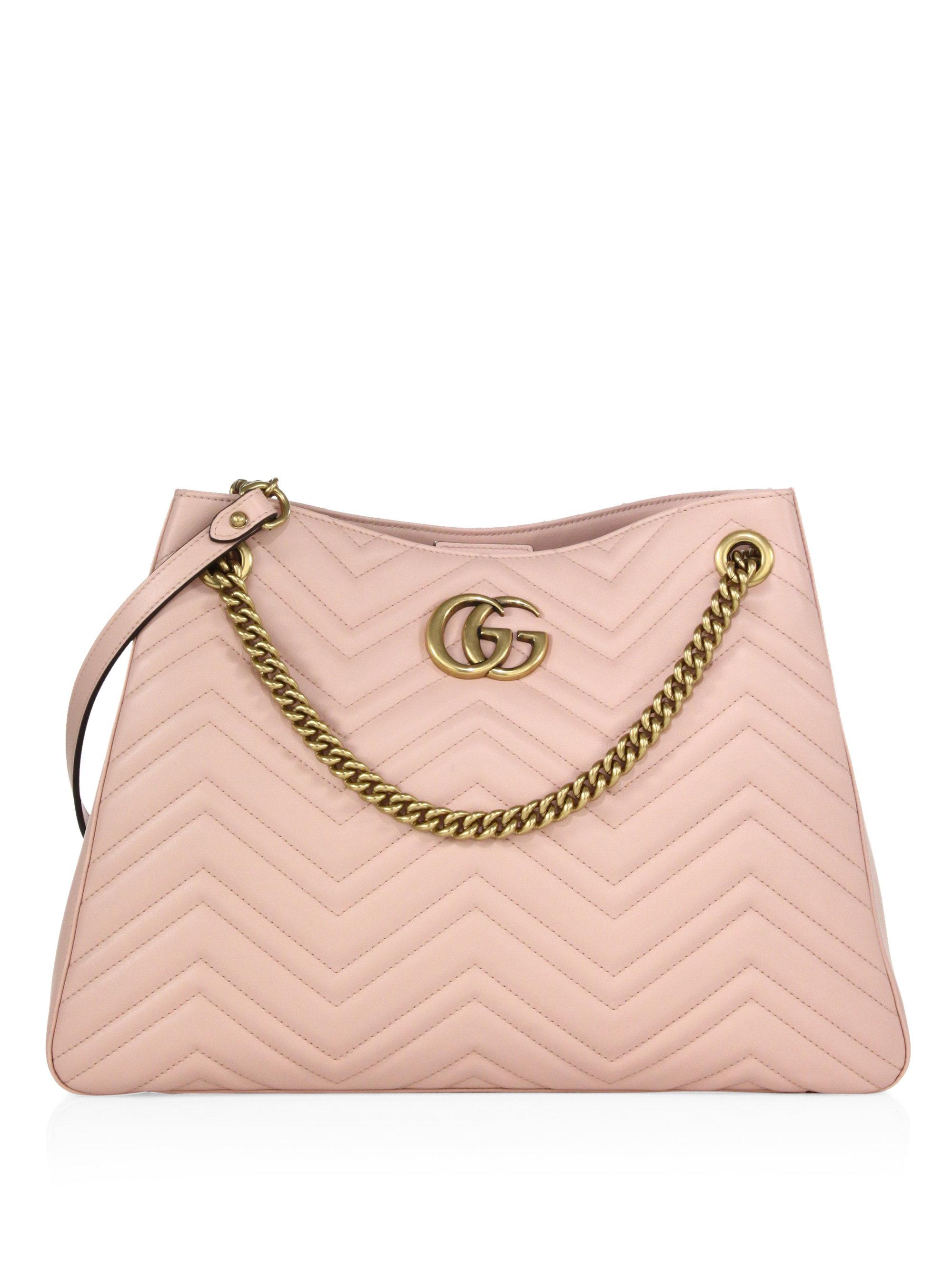 9c618c4185f Gucci Gg Marmont Matelasse Leather Shoulder Bag in Pink - Lyst