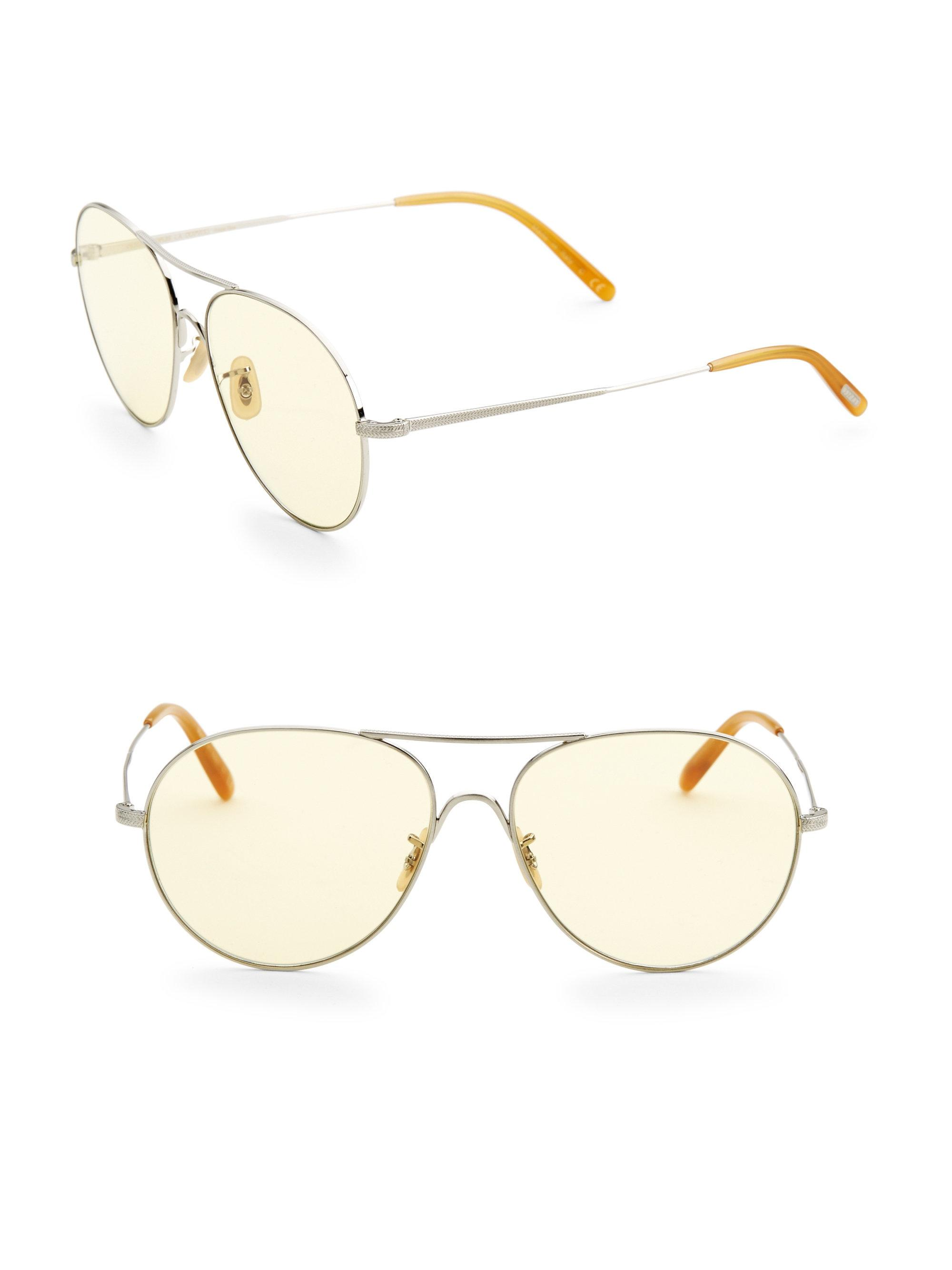 25a063676c Oliver Peoples 58mm Rockmore Pilot Sunglasses in Metallic for Men - Lyst