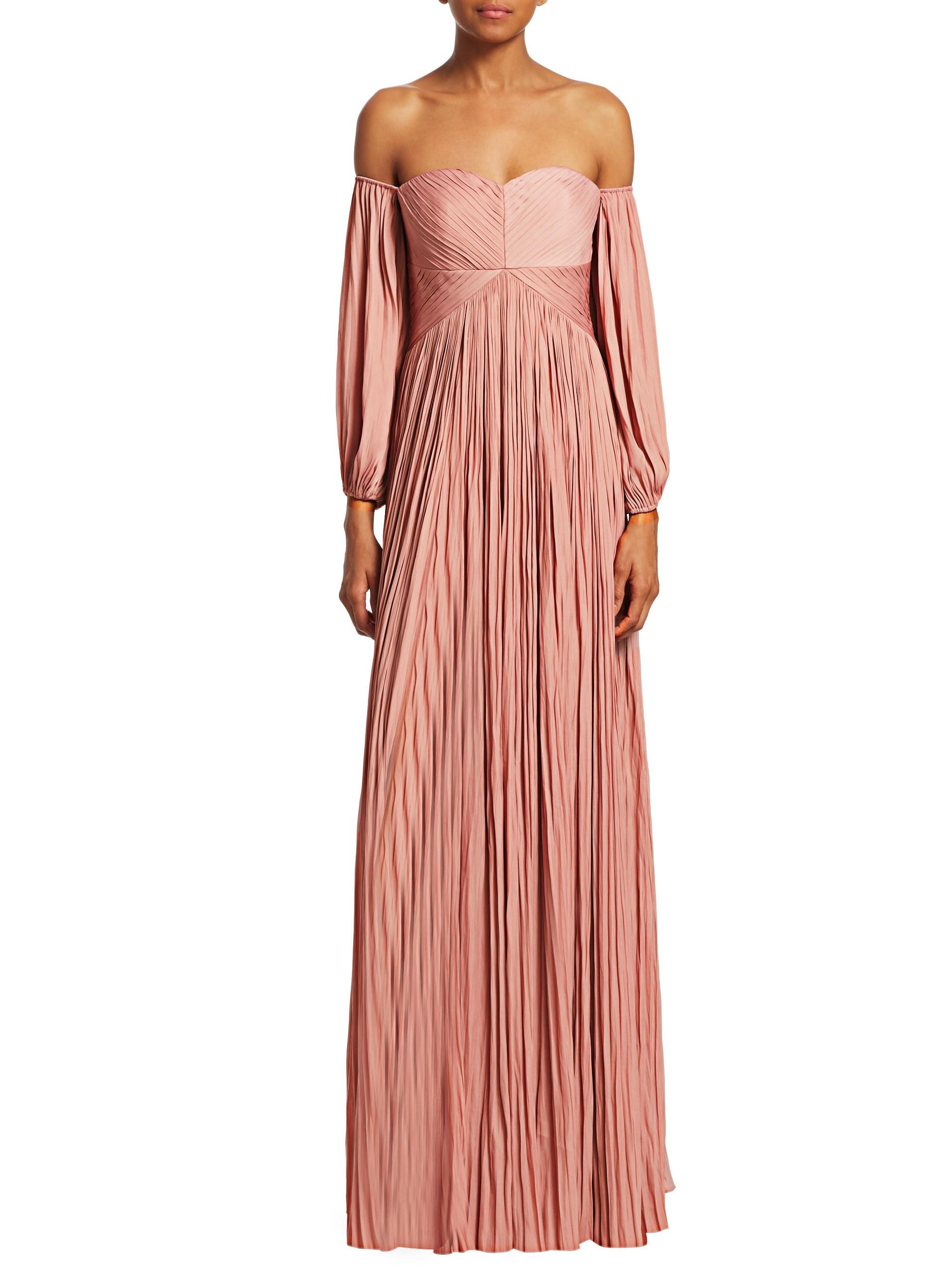 Halston Heritage Pleated Off-the-shoulder Evening Gown in Pink - Lyst