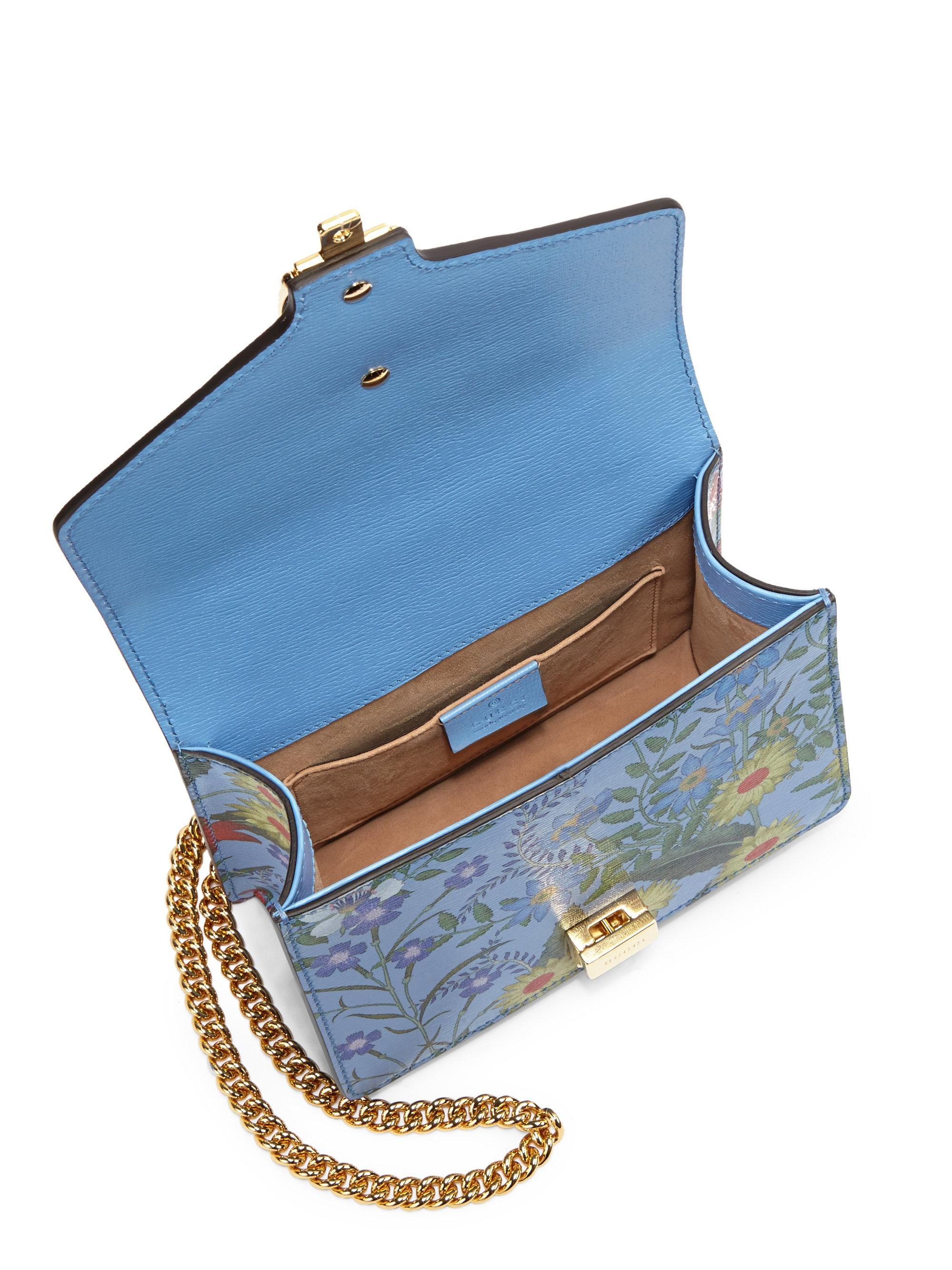 563c22cc2df Lyst - Gucci Sylvie Flora Leather Mini Chain Shoulder Bag in Blue