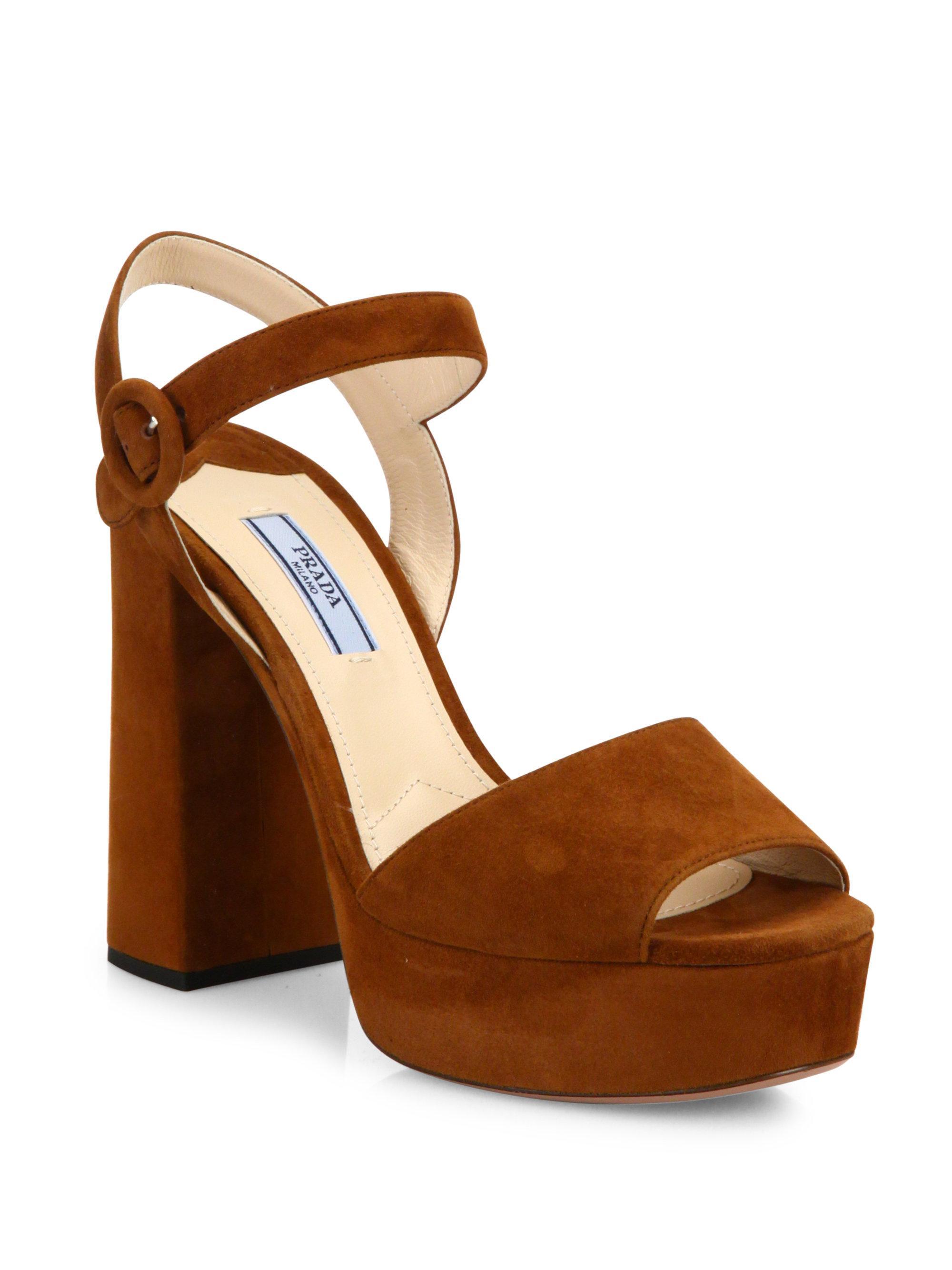 dac03ecd790 Lyst - Prada Suede Peep Toe Platform Sandals in Brown