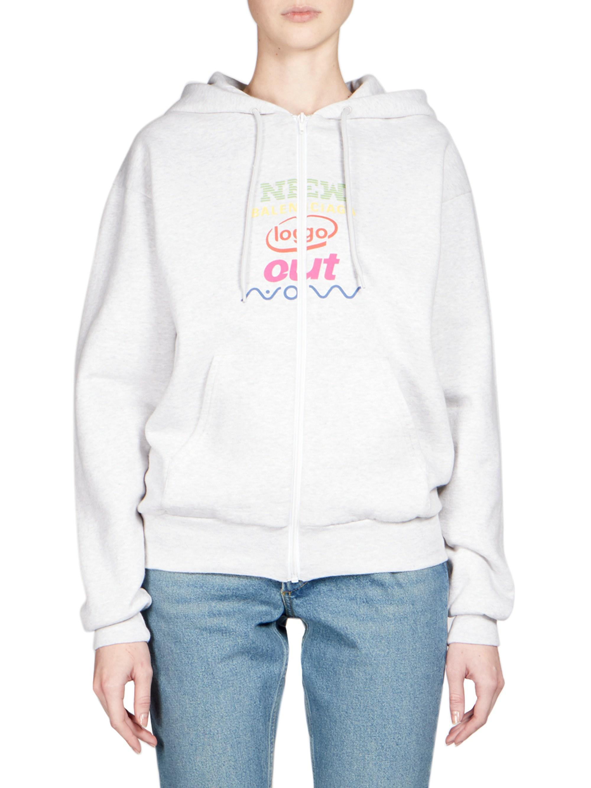 46c8c45d893 Balenciaga Women s New Out Now Logo Zip Hoodie - Grey - Size Small in Gray  - Lyst