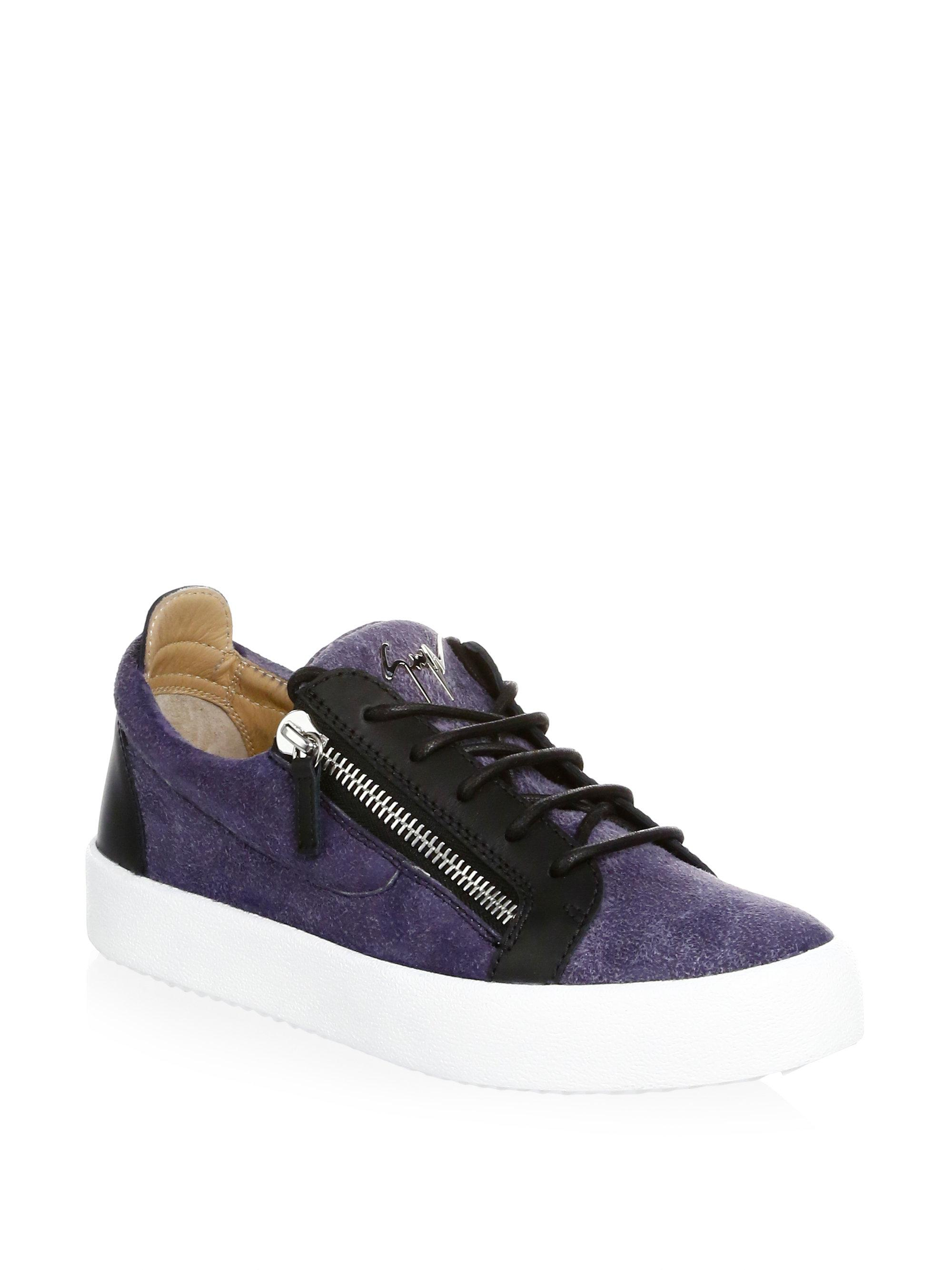 Giuseppe Zanotti Denim printed leather low-top sneaker FRANKIE qzJOt