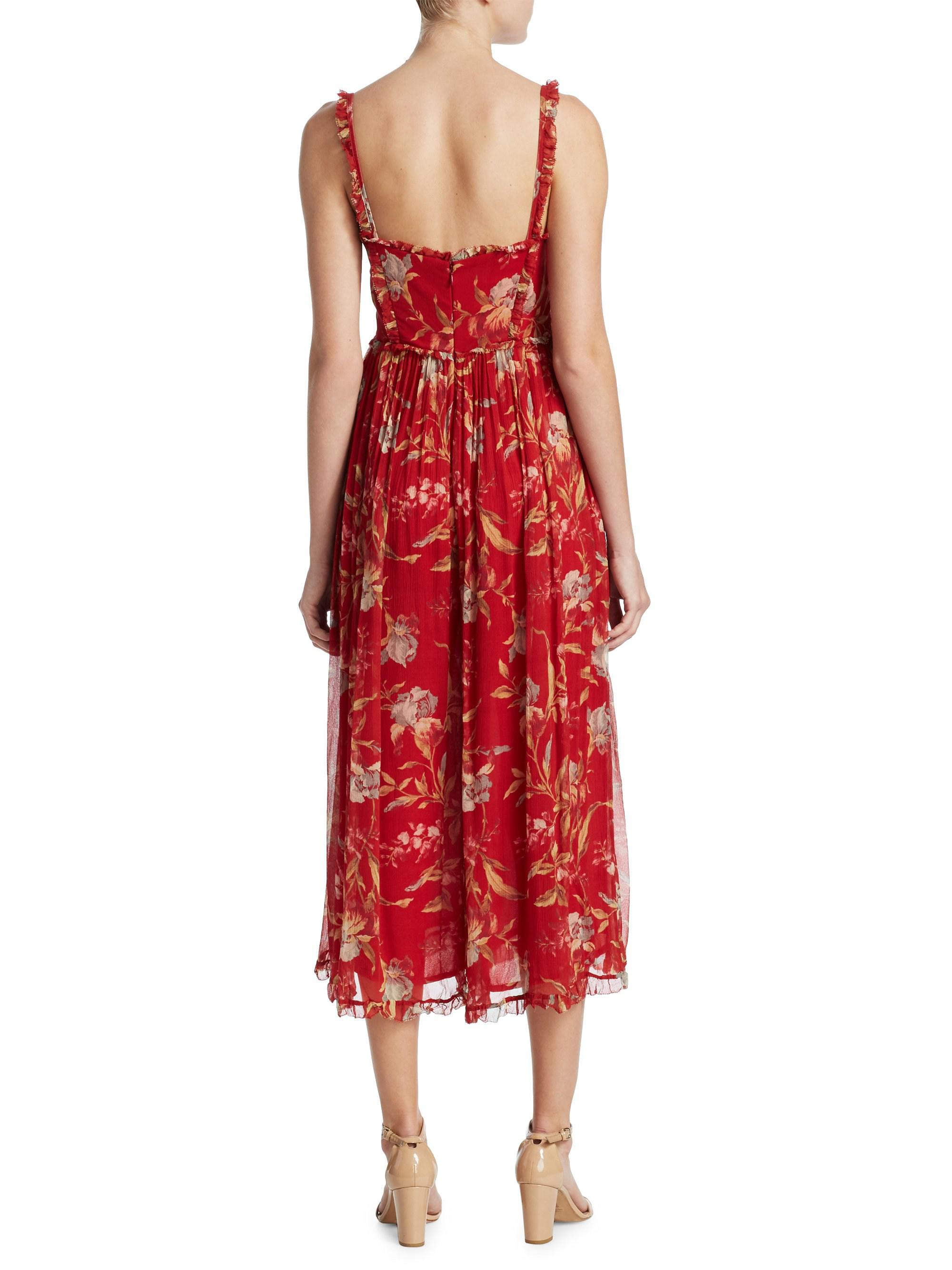 a64c602835a4 Zimmermann Corsair Silk Corset Jumpsuit in Red - Lyst