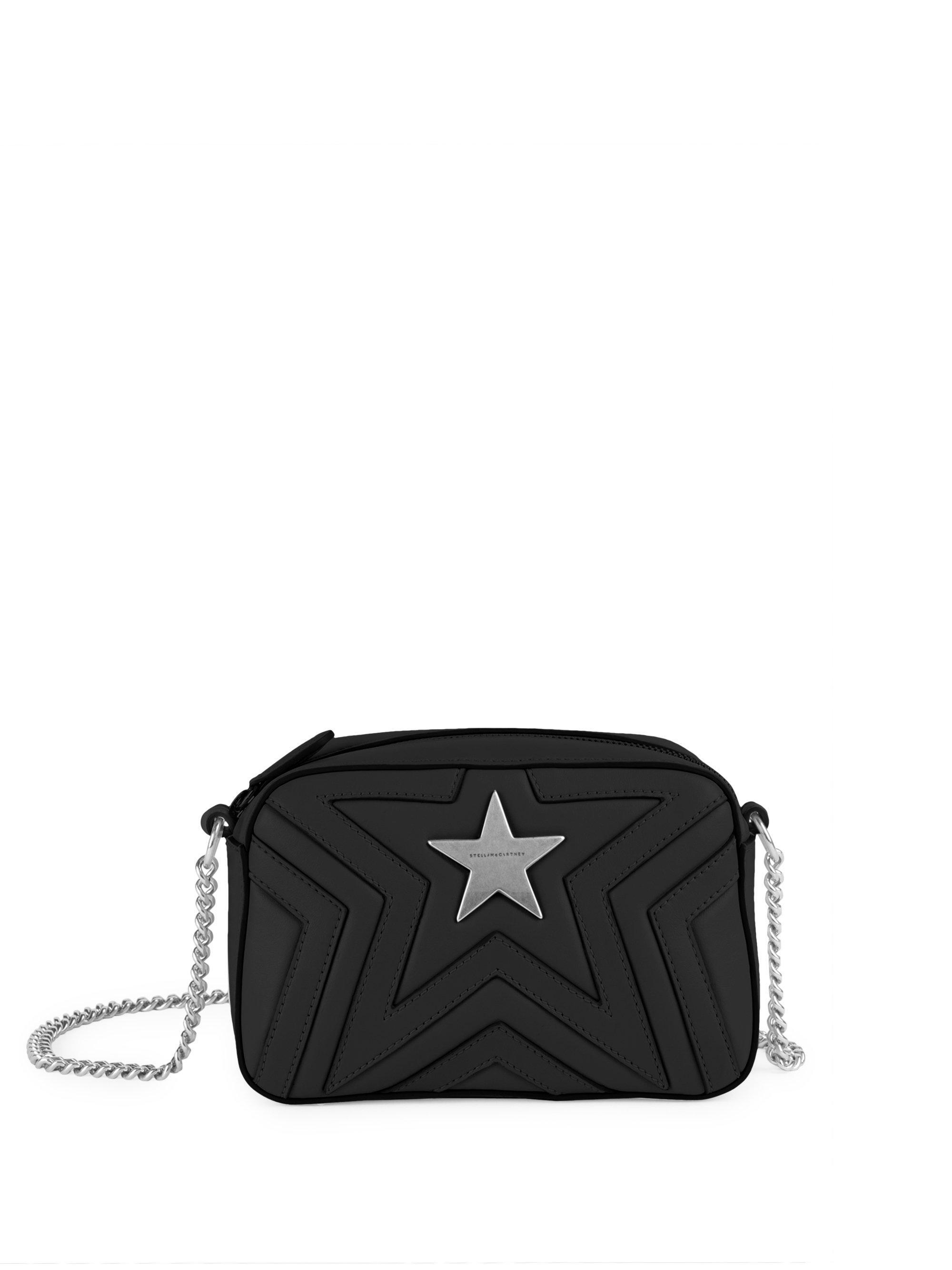 f4c892da9099 Lyst - Stella McCartney Mini Stella Star Studded Crossbody Bag in Black