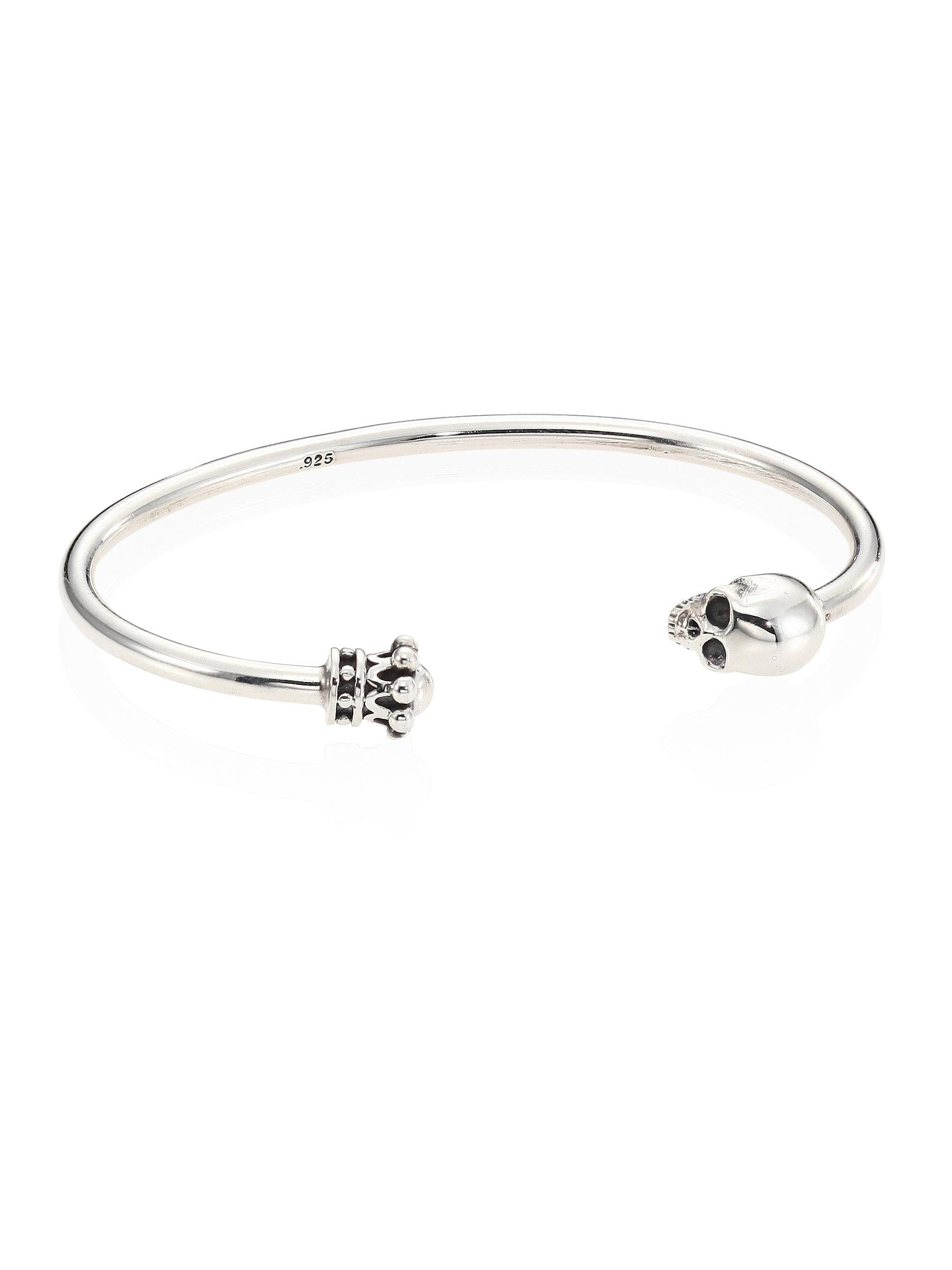 Lyst - King Baby Studio Skull & Crown Sterling Silver Thin Wire Cuff ...