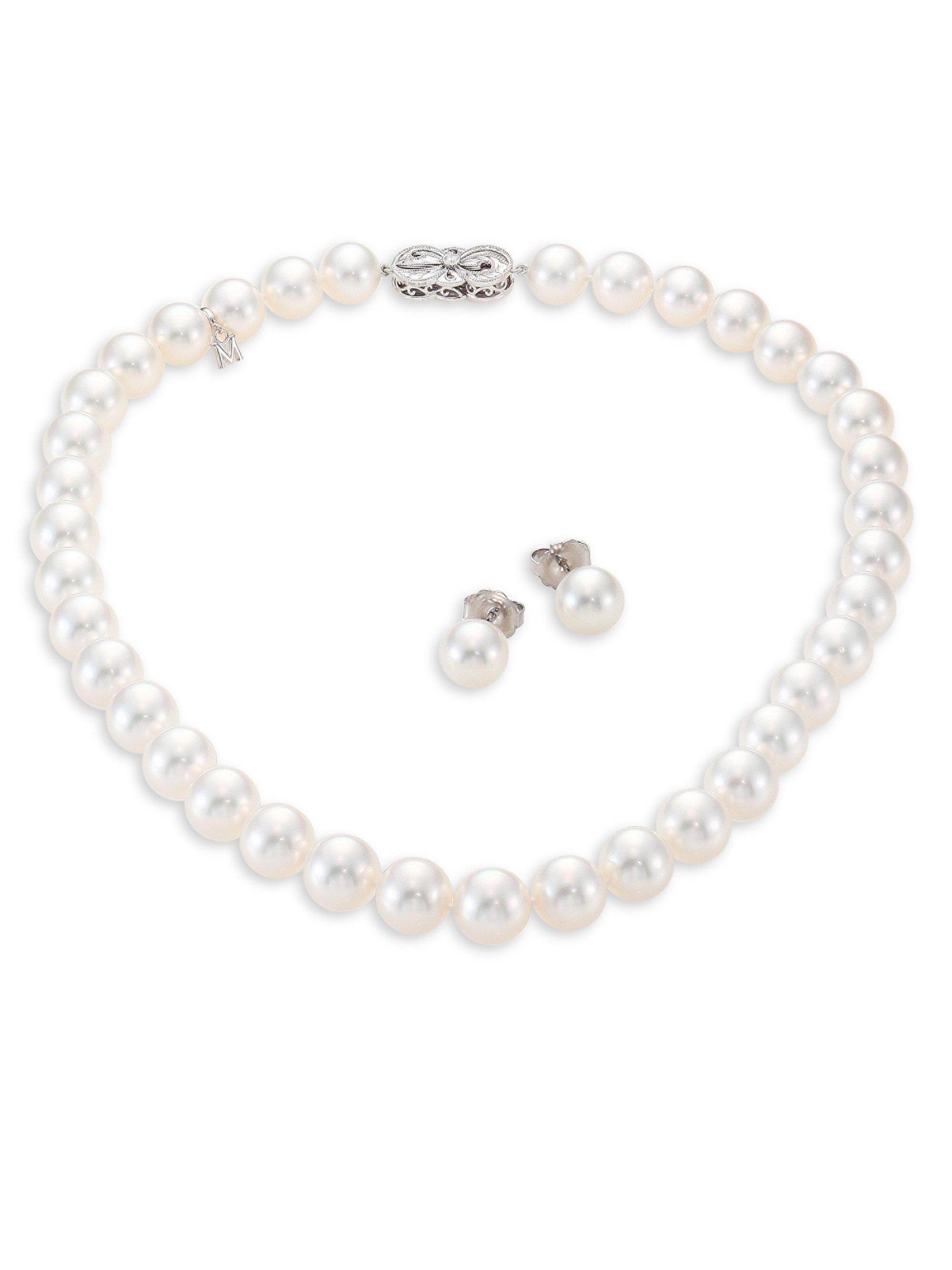 pearl clasp mikimoto jewelry blue long inch shop pearls lagoon necklace diamond