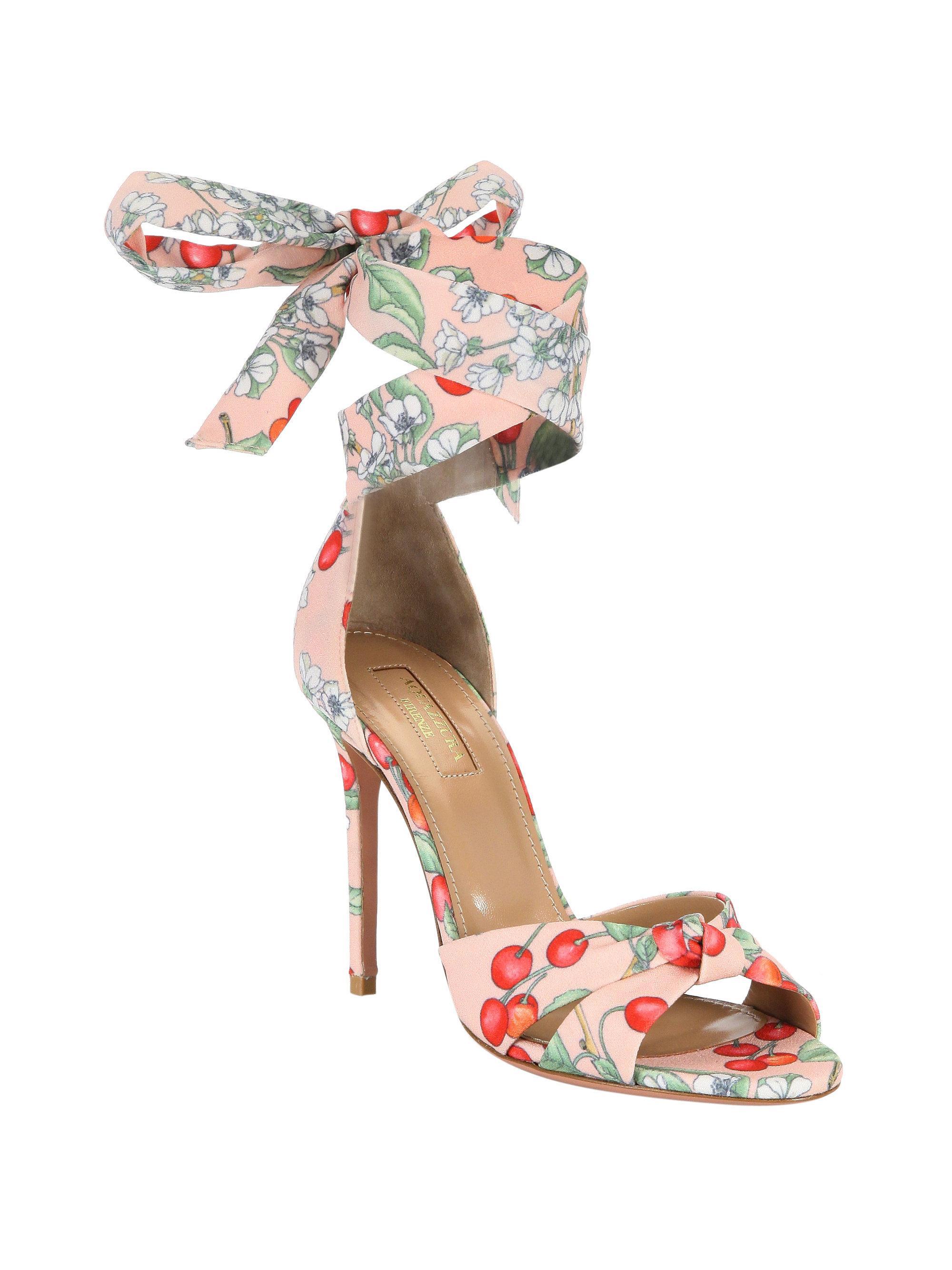 Aquazzura All Tied Up Floral Sandals 8F6zbM