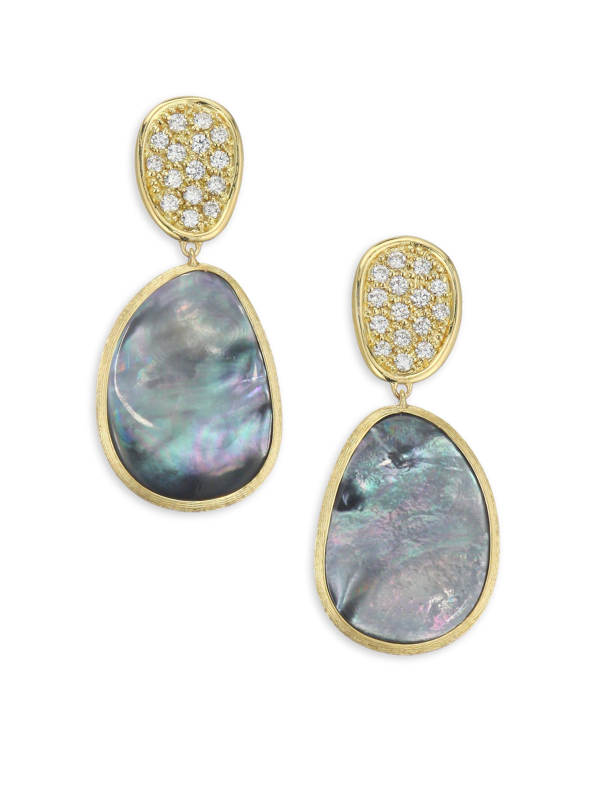 6efd965ad718 Marco Bicego. Women s Metallic Diamond Lunaria Double Drop Earrings With  Black Mother-of-pearl - Yellow Gold