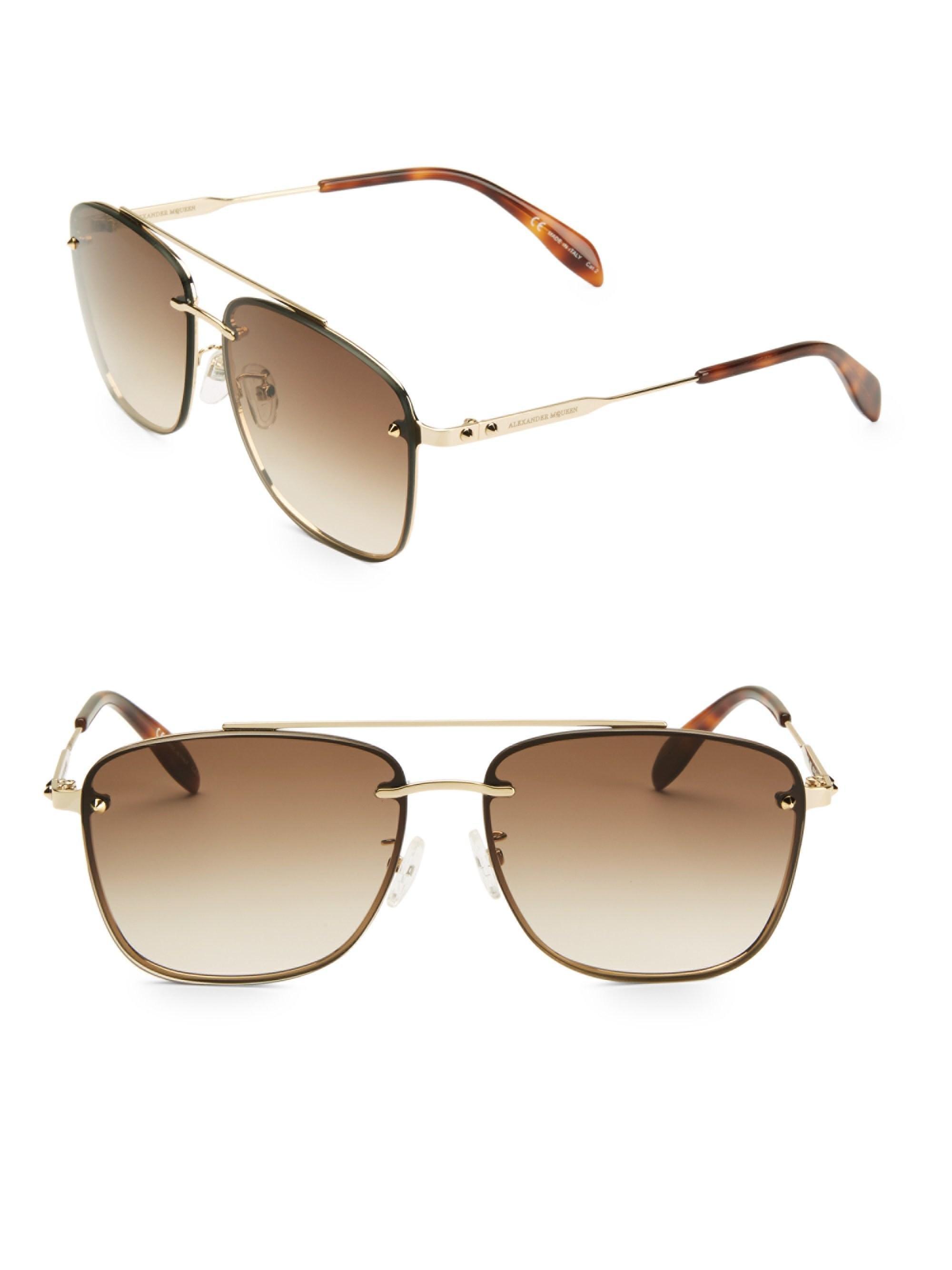 9ef22f2645dcd Lyst - Alexander McQueen Men s 62mm Sunglasses - Gold in Metallic ...