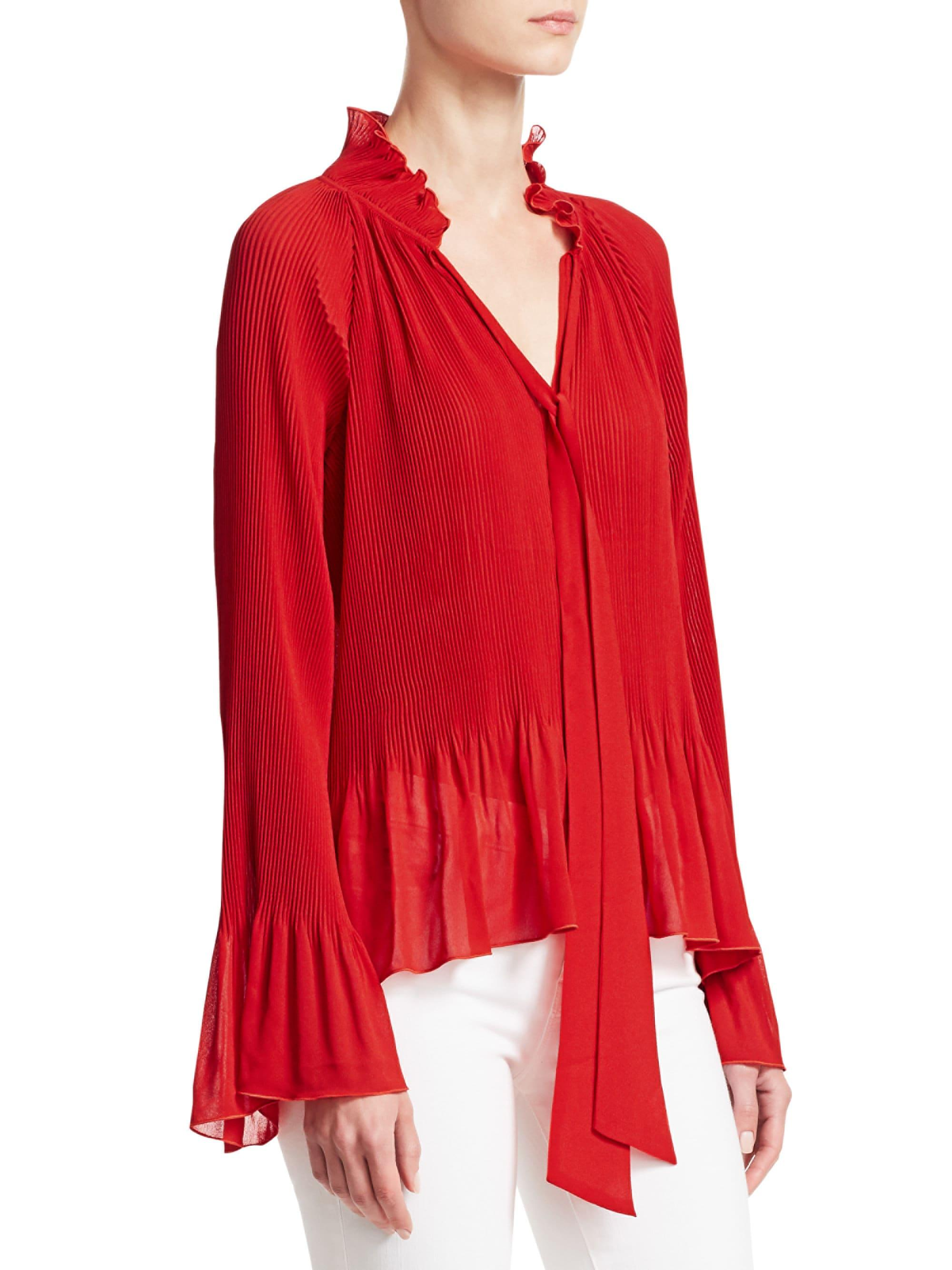 7d26837e3d4d4 Lyst - 10 Crosby Derek Lam Women s Pleated Bell Sleeve Blouse - Red - Size  16 in Red