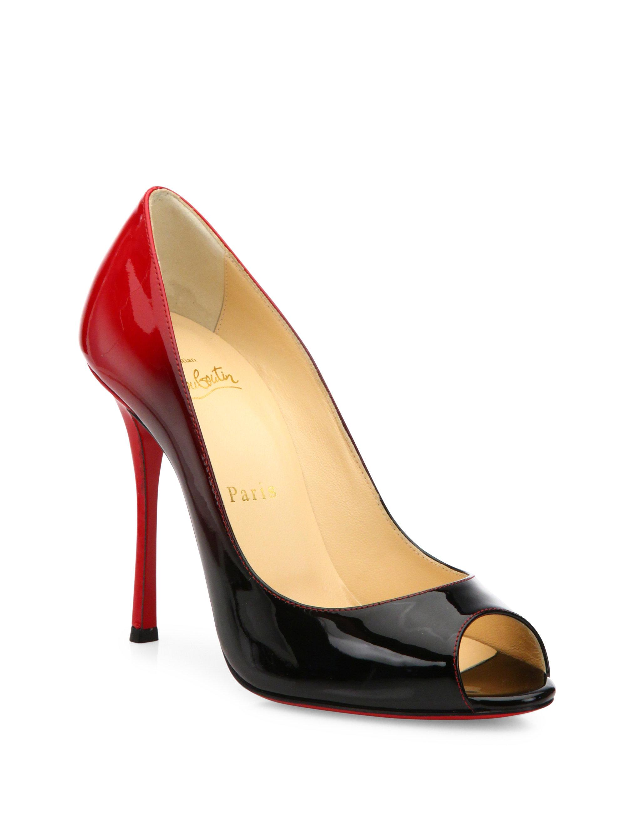 573f205e821 Lyst - Christian Louboutin Yootish 100 Ombre Patent Leather Peep Toe ...