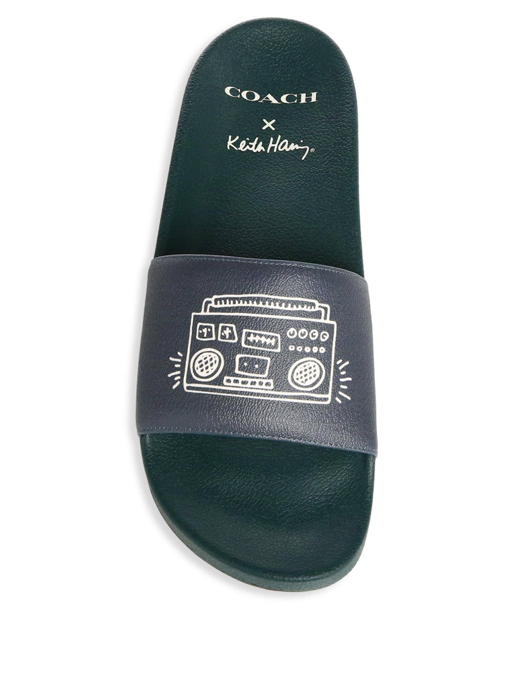 16b73389334b Lyst - COACH X Keith Haring Hawaiian Boombox Slides in Green