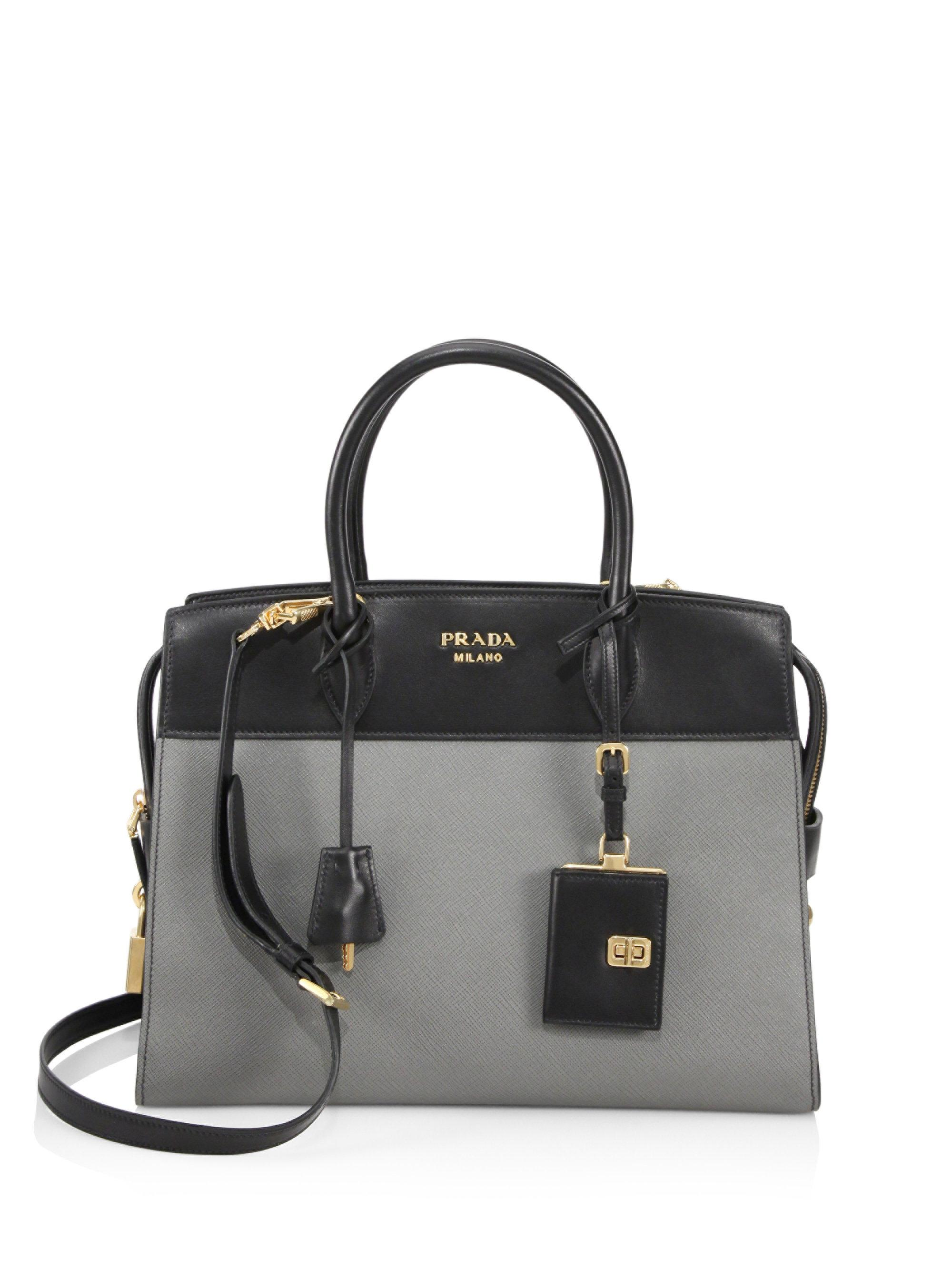 c8d98595dd15 ... top quality prada shoulder bedford ave lyst prada medium two tone  esplanade tote in black 61d09