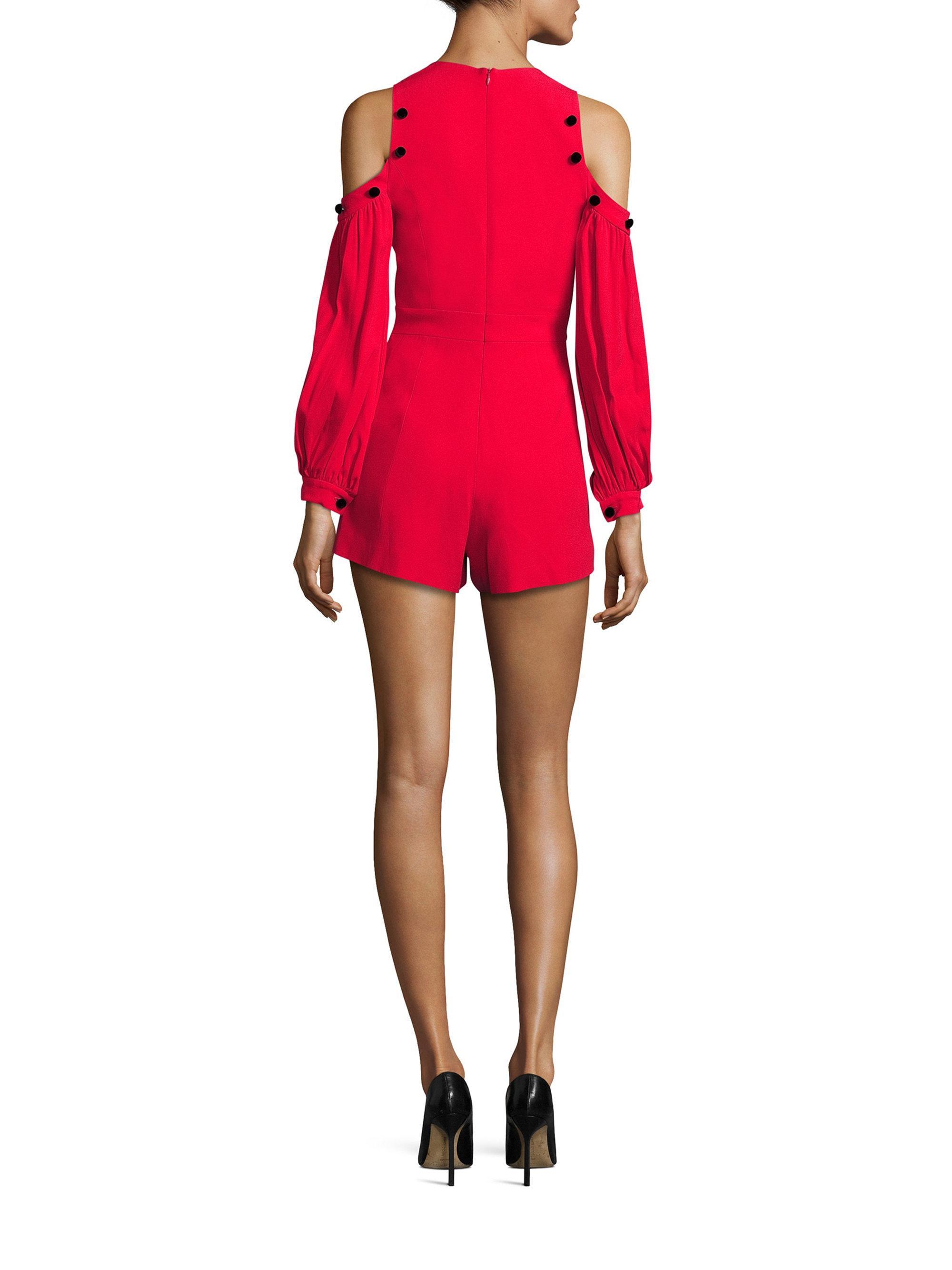 24c79d3615c Lyst - Alexis Asher Button Trim Cold Shoulder Jumpsuit in Red