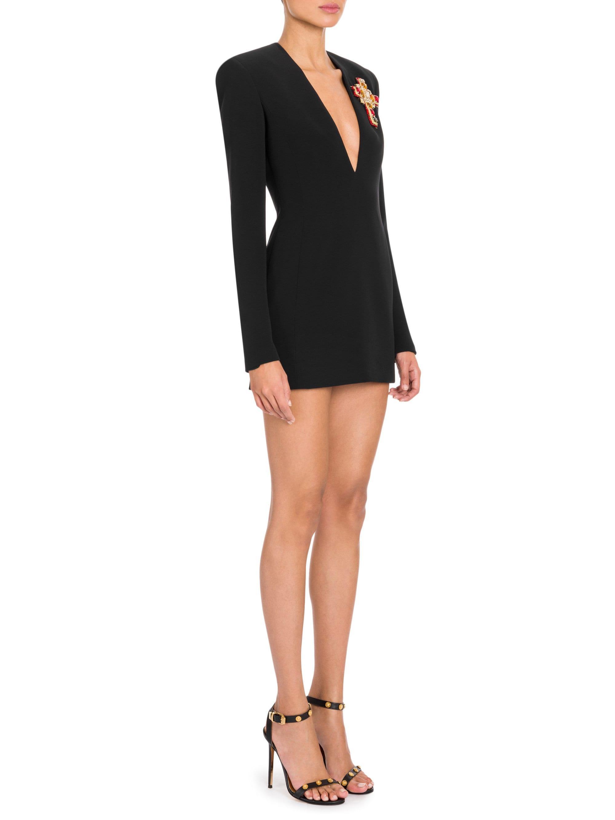 080c074d3b9 Versace V-neck Mini Dress in Black - Lyst