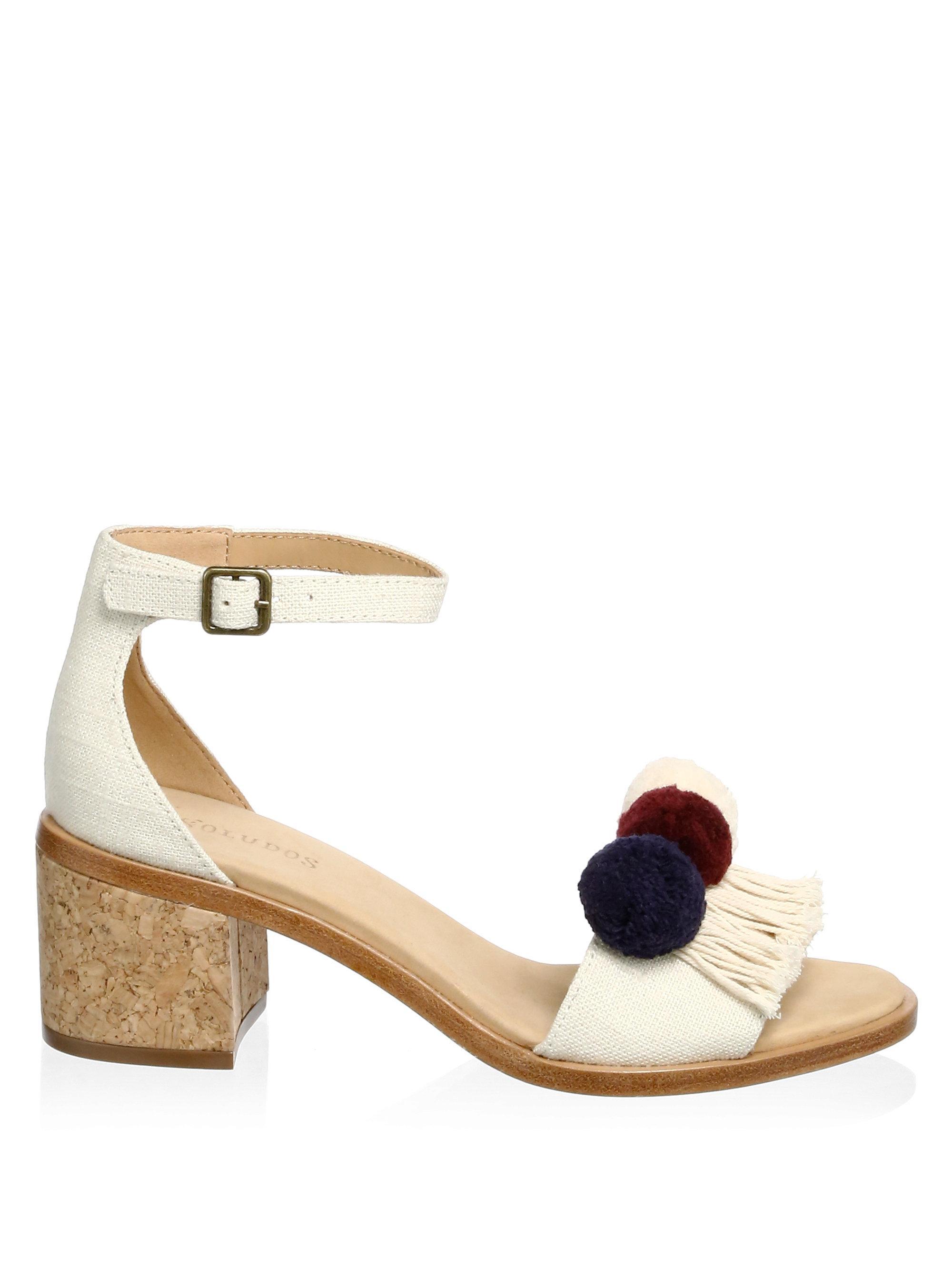 Soludos Pom-Poms Block Heel Sandals waZm9J2ni