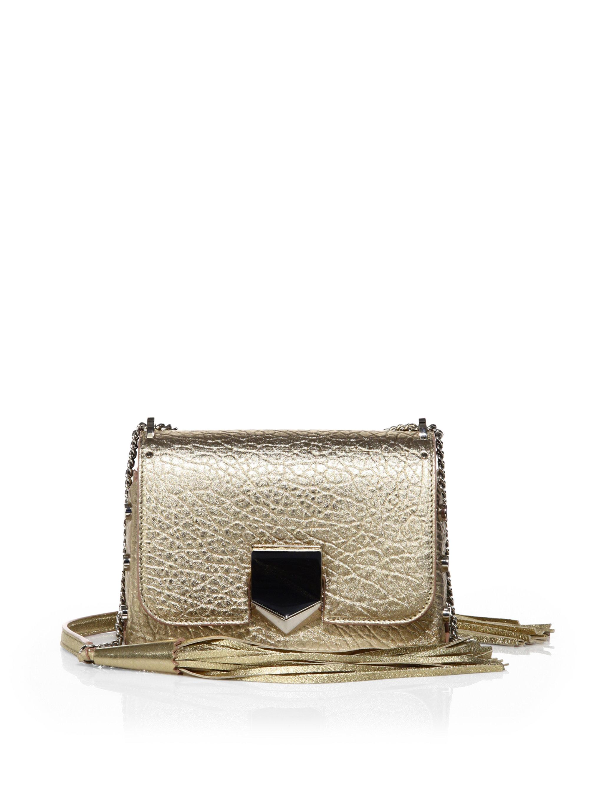 6ce64304c37 Lyst - Jimmy Choo Lockett Petite Metallic Leather Shoulder Bag in ...