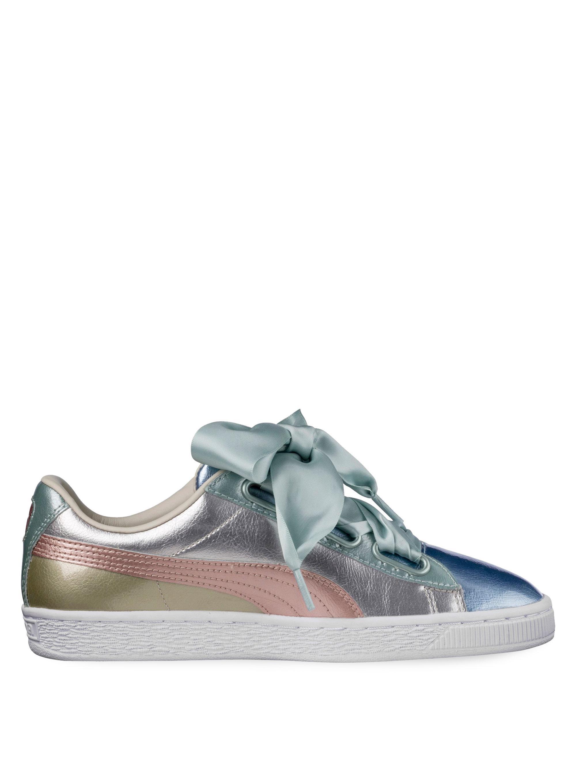 eef38d1ba82af6 Puma Basket Heart Leather Sneakers in Metallic - Lyst