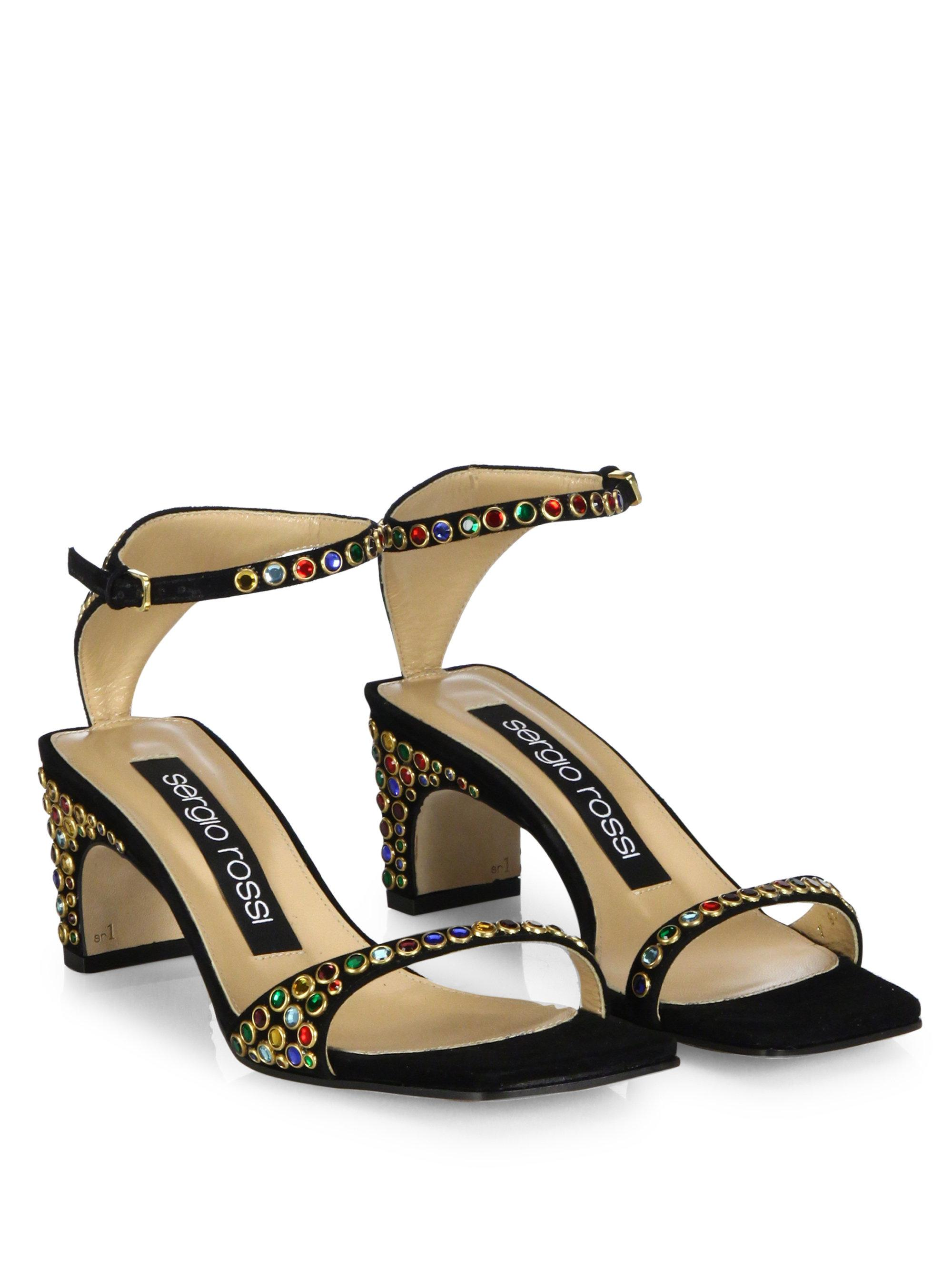 Sergio Rossi. Women's Black Sr1 Jeweled Suede Ankle-strap Sandals