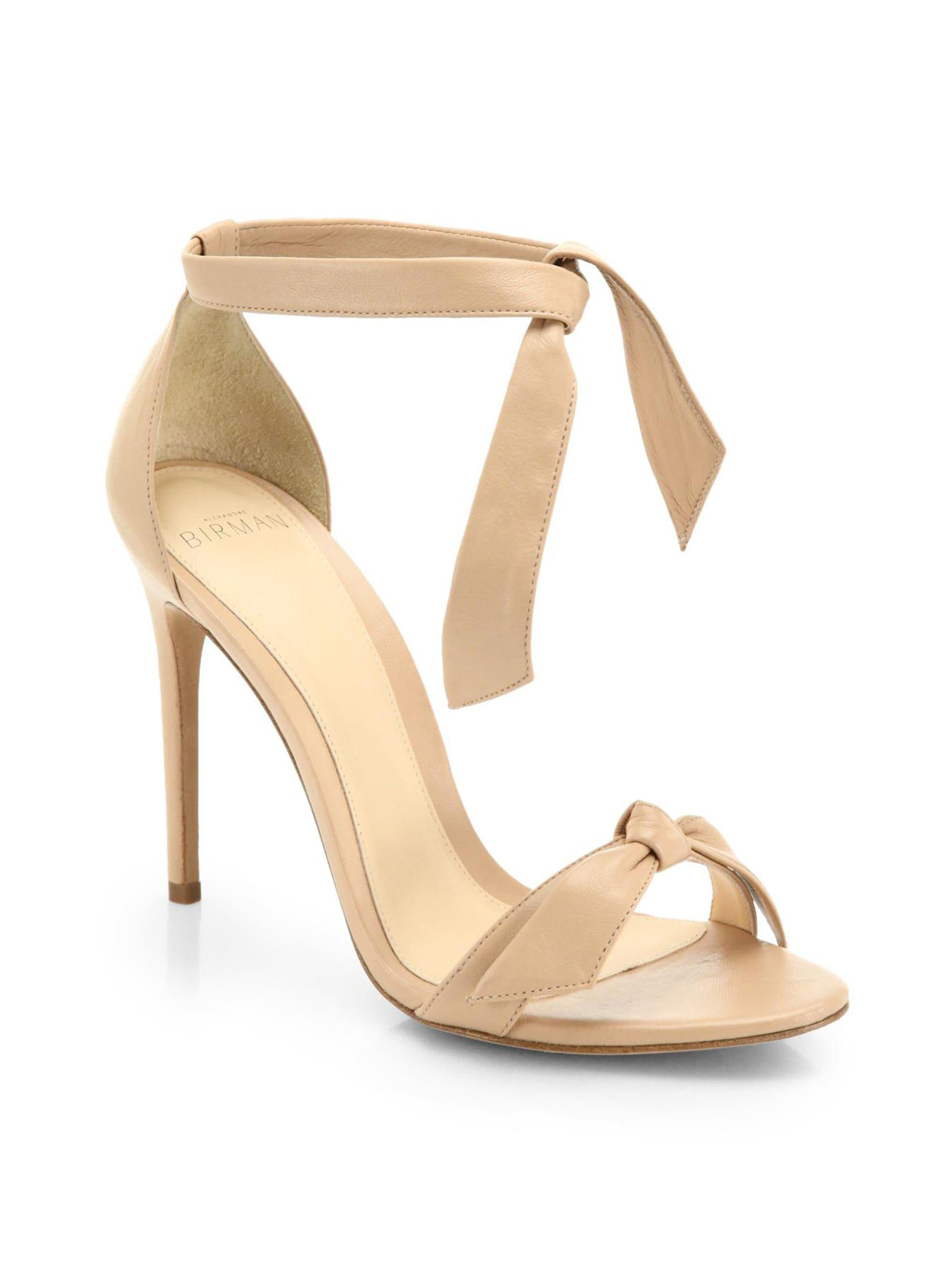 8aa380d80ea5 Lyst - Alexandre Birman Clarita Leather Ankle-tie Sandals in Natural