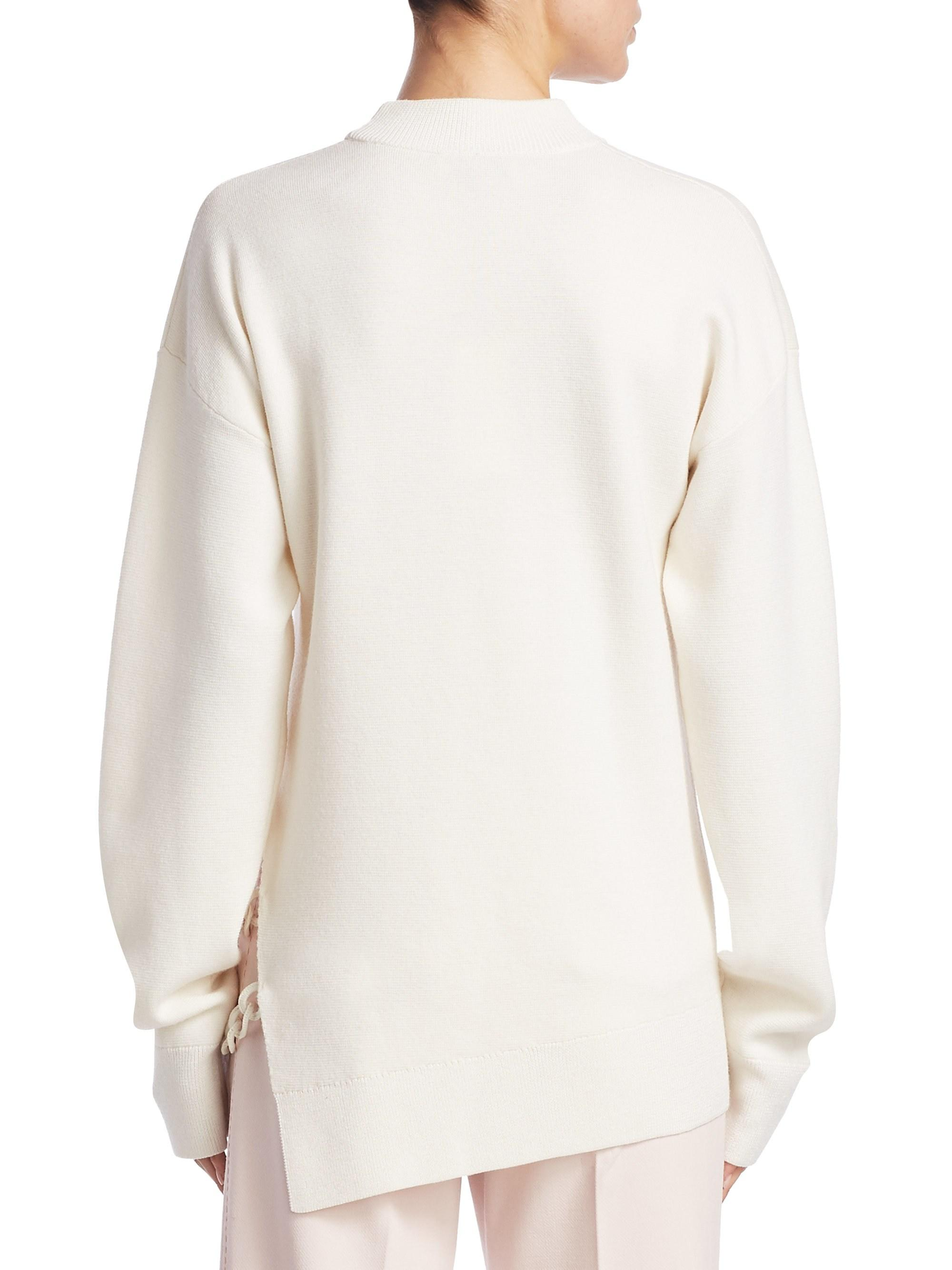 38b61e8e4f Lyst - Carven Oversized Wool Chain Link Sweater in White