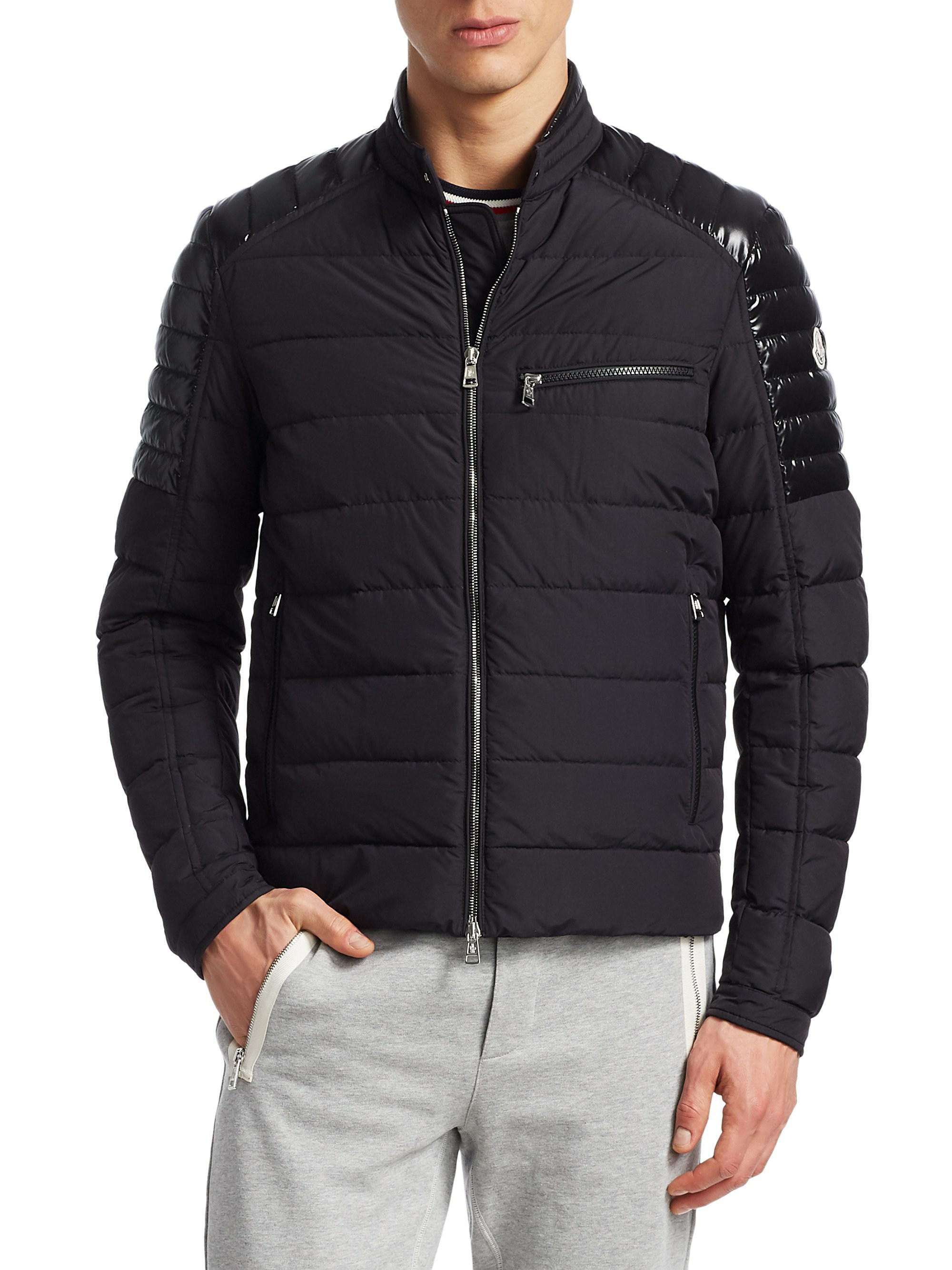 07374c6da Lyst - Moncler Meylan Puffer Biker Jacket in Black for Men